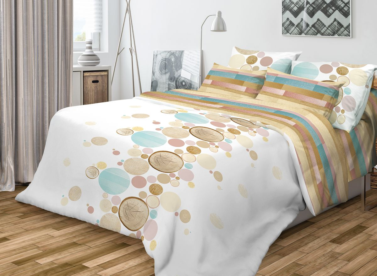 """Роскошный комплект постельного белья Волшебная ночь """"Wood"""" выполнен из   натурального ранфорса (100% хлопка) и   украшен оригинальным рисунком. Комплект состоит из двух пододеяльников, простыни   и двух наволочек. Ранфорс - это новая современная гипоаллергенная ткань из   натуральных хлопковых волокон, которая прекрасно впитывает   влагу, очень проста в уходе, а за счет высокой прочности   способна выдерживать большое количество стирок.   Высочайшее качество материала гарантирует безопасность.  Доверьте заботу о качестве вашего сна   высококачественному натуральному материалу.  Советы по выбору постельного белья от блогера Ирины Соковых. Статья OZON Гид"""