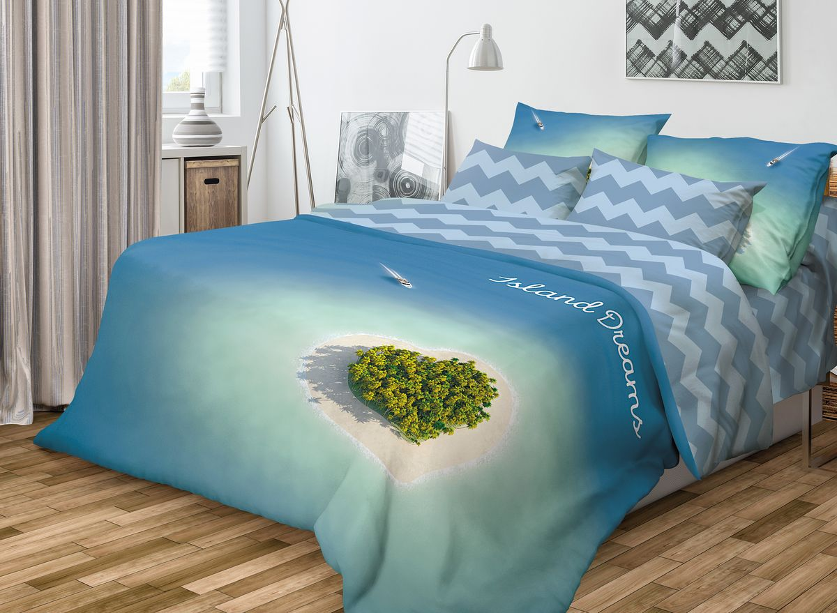 """Роскошный комплект постельного белья Волшебная ночь """"Island Dreams"""" выполнен из   натурального ранфорса (100% хлопка) и   украшен оригинальным рисунком. Комплект состоит из пододеяльника, простыни   и двух наволочек. Ранфорс - это новая современная гипоаллергенная ткань из   натуральных хлопковых волокон, которая прекрасно впитывает   влагу, очень проста в уходе, а за счет высокой прочности   способна выдерживать большое количество стирок.   Высочайшее качество материала гарантирует безопасность.  Доверьте заботу о качестве вашего сна   высококачественному натуральному материалу.      Советы по выбору постельного белья от блогера Ирины Соковых. Статья OZON Гид"""