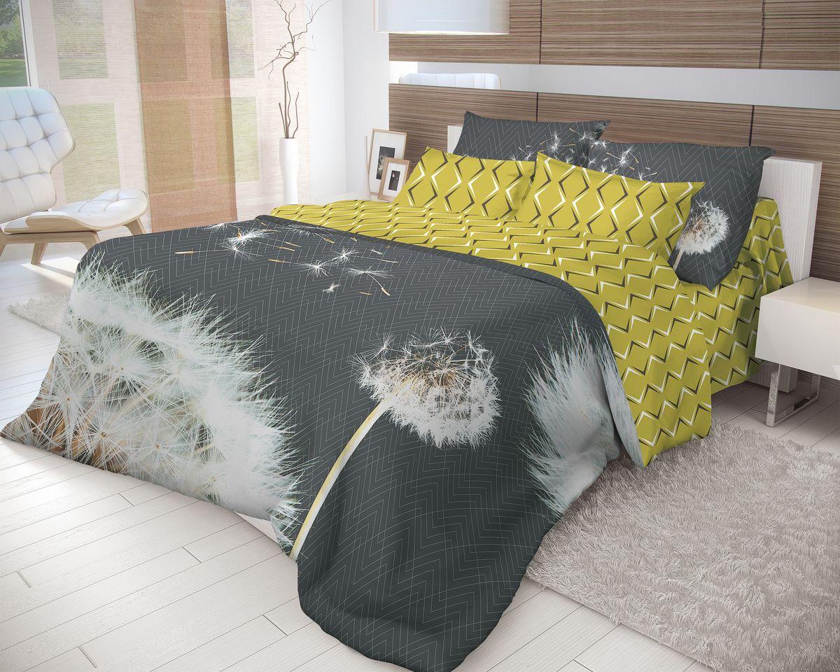Комплект белья Волшебная ночь Dandelion, 2-спальный, наволочки 50x70, цвет: белый, серый, золотой. 702176