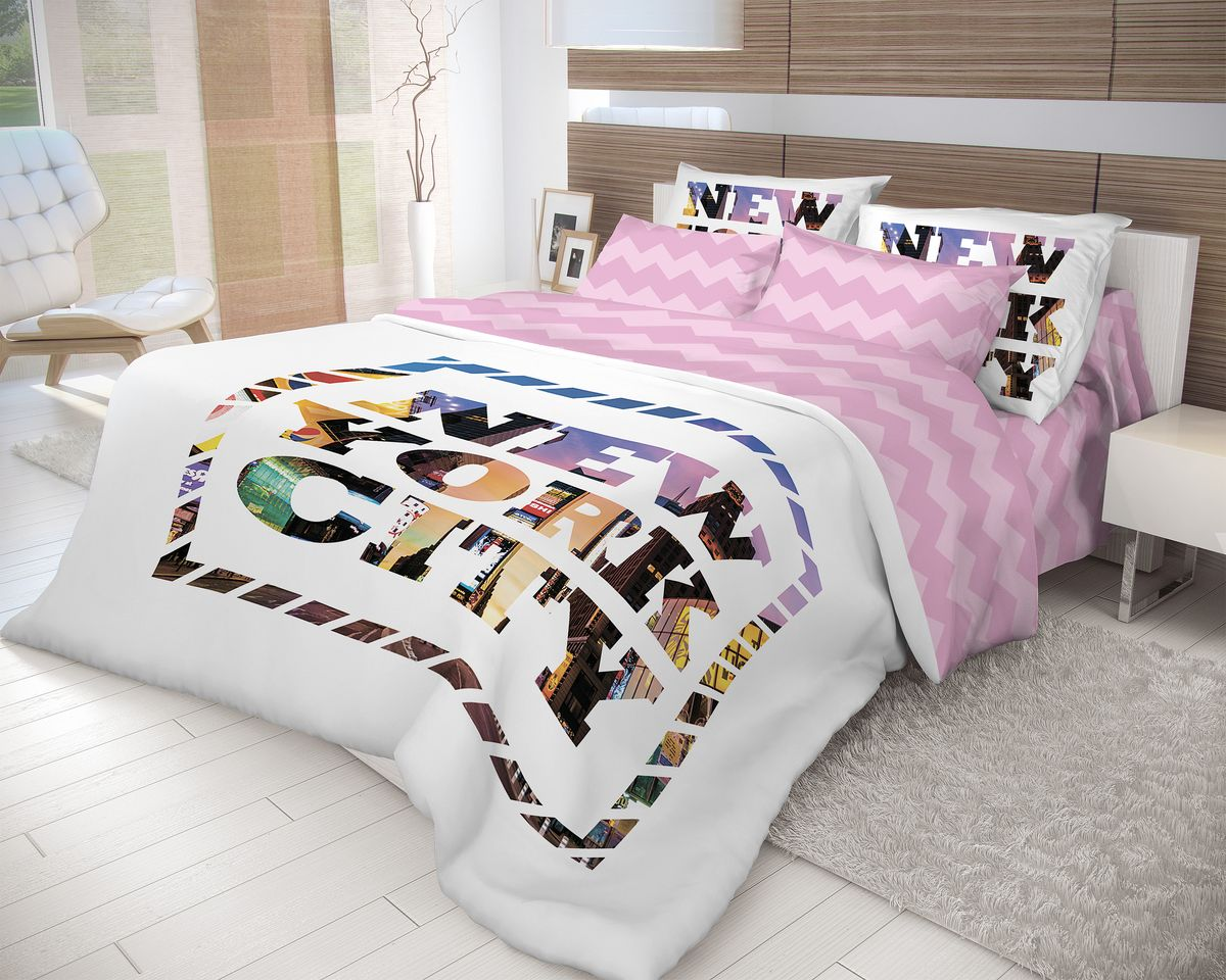 Комплект белья Волшебная ночь New York, 1,5-спальный, наволочки 50x70, цвет: белый, розовый702181Роскошный комплект постельного белья Волшебная ночь New York выполнен из натурального ранфорса (100% хлопка) и украшен оригинальным рисунком. Комплект состоит из пододеяльника, простыни и двух наволочек. Ранфорс - это новая современная гипоаллергенная ткань из натуральных хлопковых волокон, которая прекрасно впитывает влагу, очень проста в уходе, а за счет высокой прочности способна выдерживать большое количество стирок. Высочайшее качество материала гарантирует безопасность.Доверьте заботу о качестве вашего сна высококачественному натуральному материалу.