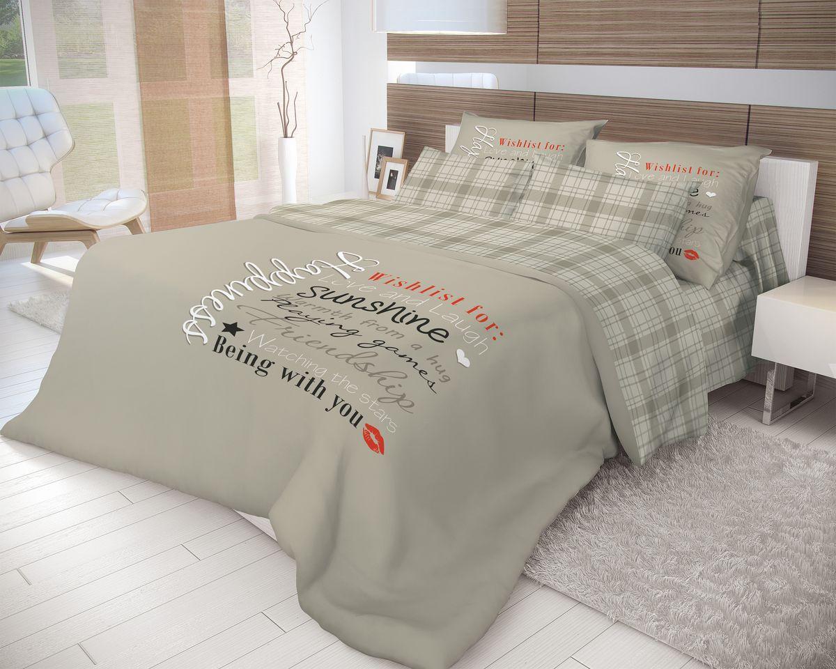 """Роскошный комплект постельного белья Волшебная ночь """"Happiness"""" выполнен из   натурального ранфорса (100% хлопка) и   украшен оригинальным рисунком. Комплект состоит из двух пододеяльников, простыни   и двух наволочек. Ранфорс - это новая современная гипоаллергенная ткань из   натуральных хлопковых волокон, которая прекрасно впитывает   влагу, очень проста в уходе, а за счет высокой прочности   способна выдерживать большое количество стирок.   Высочайшее качество материала гарантирует безопасность.  Доверьте заботу о качестве вашего сна   высококачественному натуральному материалу.        Советы по выбору постельного белья от блогера Ирины Соковых. Статья OZON Гид"""