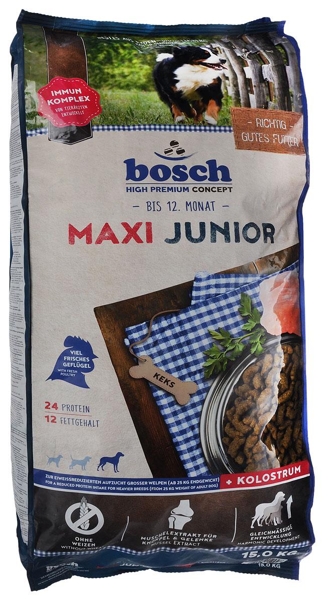 Корм сухой Bosch Junior Maxi для щенков гигантских пород, 15 кг16545_щенки/гигантские породыКорм Bosch Junior Maxi с высоким содержанием белка, витаминов и минералов поддерживает оптимальное развитие щенков до года с учетом их высоких потребностей в питательных веществах и способствует правильному формированию скелета и зубов. Увеличенное содержание омега-3 жирных кислот оказывает положительное воздействие на развитие головного мозга и органов зрения. Умеренное содержание белка и жира способствует гармоничному развитию опорно-двигательного аппарата и предотвращает быстрый набор веса. Мука из мяса мидий (источник глюкозамина и хондроитина) поддерживает здоровье суставов и связок. Специальная форма и увеличенный размер гранул отлично подходят щенкам крупных пород.Товар сертифицирован.Уважаемые клиенты! Обращаем ваше внимание на возможные изменения в дизайне упаковки. Качественные характеристики товара остаются неизменными. Поставка осуществляется в зависимости от наличия на складе.