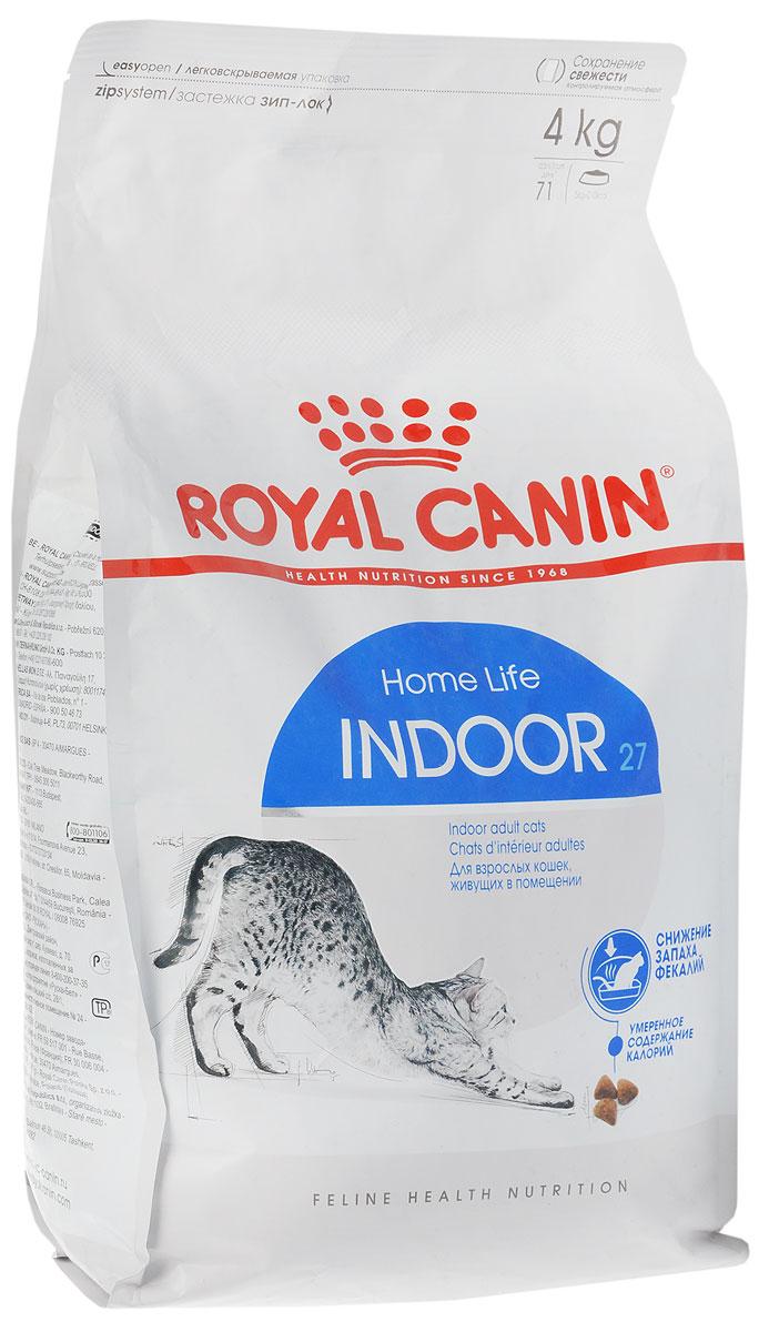 Корм сухой Royal Canin Indoor 27, для кошек в возрасте от 1 года до 7 лет, живущих в помещении, для ослабления запаха фекалий, 4 кг63025_кошкиСухой корм Royal Canin Indoor 27 - полнорационное питание для кошек от 1 до 7 лет, живущих в помещении.Кошка, постоянно живущая в помещении, ограничена в движении, поэтому большую часть своего времени она тратит на сон и прием пищи. Низкая активность кошки вызывает вялую работу кишечника и, как следствие, появление жидкого стула с резким неприятным запахом. У домашних кошек повышается риск появления избыточного веса.Ежедневное вылизывание шерсти приводит к образованию волосяных комочков в желудке кошки. Ослабляет запах фекалий кошки благодаря высокому содержанию L.I.P. Высокоперевариваемый корм Royal Canin Indoor 27 способствует значительному ослаблению запаха стула кошки в результате уменьшения выделения сероводорода - зловонного газа, выделяющегося из фекалий.Умеренное содержание энергии: способствует уменьшению жировых отложений у кошек за счет умеренного содержания калорий и добавления L-карнитина (50 мг/кг). Выведение волосяных комочков: стимулирует кишечный транзит благодаря сочетанию ферментируемой и неферментируемой клетчатки.Состав: кукуруза, дегидратированное мясо домашней птицы, рис, изолят растительного белка, пшеница, животные жиры, гидролизат белков животногопроисхождения, растительная клетчатка, минеральные вещества, свекольный жом, соевое масло, фруктоолигосахариды, дрожжи, рыбий жир.Добавки (на 1 кг):Витамин А - 14700 МЕ, Витамин D3 - 800 МЕ, Е1 (железо) - 50 мг, Е2 (йод) - 5 мг, Е5 (марганец) - 56 мг, Е6 (цинк) - 194 мг, Селен - 0,11 мг, консервант: сорбат калия,антиоксиданты: пропигаллат, БГА.Товар сертифицирован.