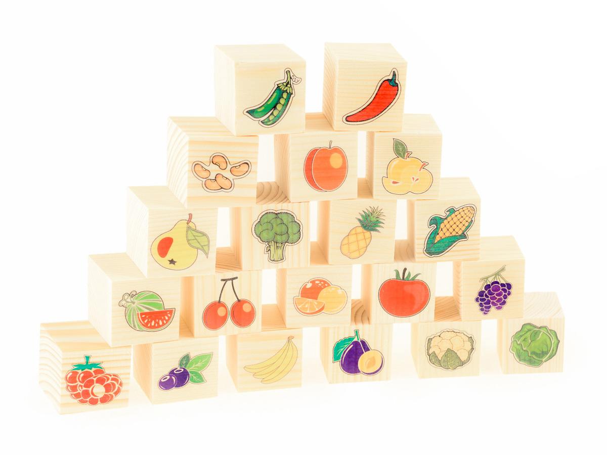 Развивающие деревянные игрушки Кубики Овощи-фрукты развивающие деревянные игрушки кубики сладости