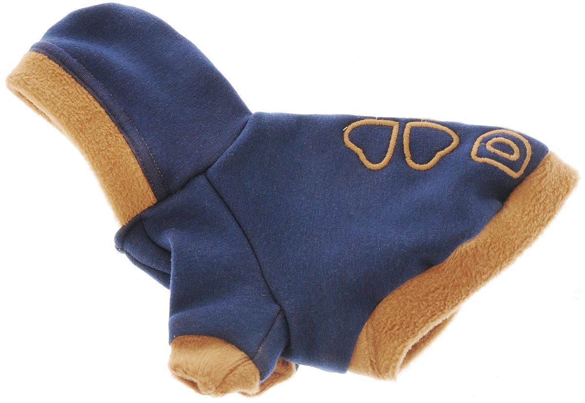Толстовка для собак Dogmoda Клевер, унисекс, цвет: темно-синий, коричневый. Размер 2 (M)DM-160264-2_темно-синийТолстовка Dogmoda Клевер - это практичная и стильная защита любимого питомца в прохладную погоду весной и осенью, вечерним летним днем или ранним утром. Такая одежда - это незаменимый вариант гардероба любой собаки во время прогулок в ветреную погоду. Трикотаж на искусственном меху является отличной мягкой и нежной тканью не только для прогулок, но и для ношения дома в любое время года. Трикотаж известен своими прекрасными свойствами мягкости, удобства и практичности в стирке. Оригинальная и всегда модная расцветка будет радовать глаз хозяина и прохожих. На спине имеется вышивка.Одежда для собак: нужна ли она и как её выбрать. Статья OZON Гид