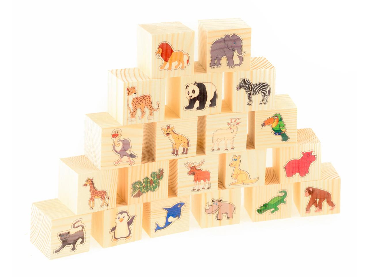 Развивающие деревянные игрушки Кубики В зоопарке конструкторы игрушки из дерева трамвай