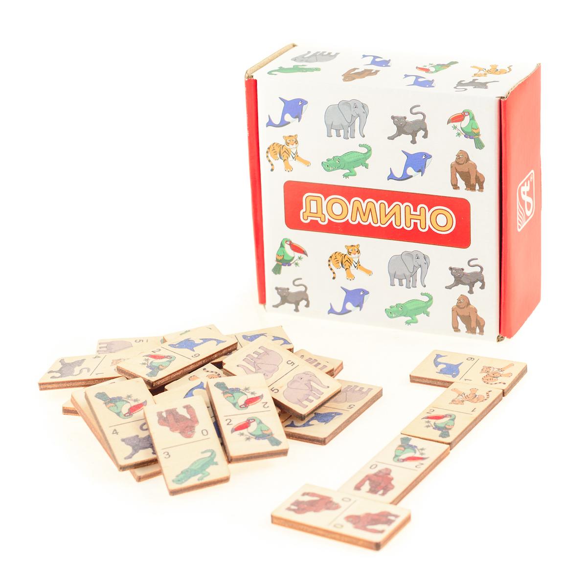 Развивающие деревянные игрушки Домино Зоопарк