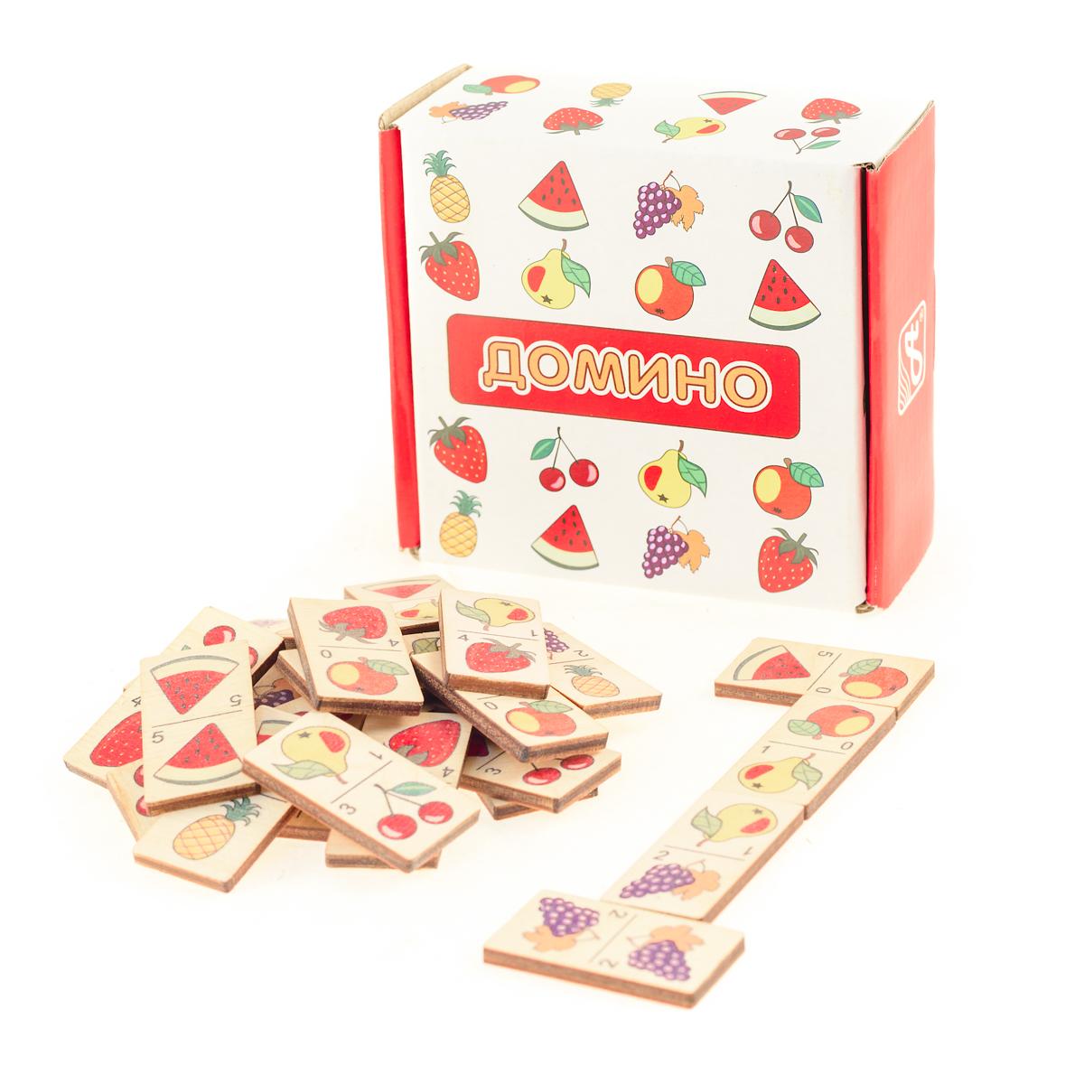 Развивающие деревянные игрушки Домино Фрукты деревянные игрушки теремок пирамидка счетная домино