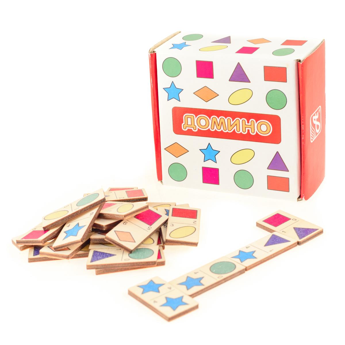 Развивающие деревянные игрушки Домино Формы и цвета домино маленький полиглот игрушки и животные