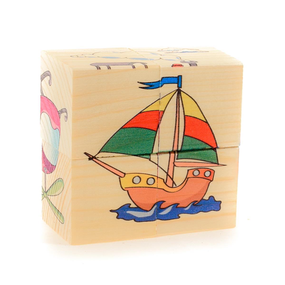 Развивающие деревянные игрушки Кубики Транспорт Д483а деревянные игрушки анданте кубики пазл транспорт