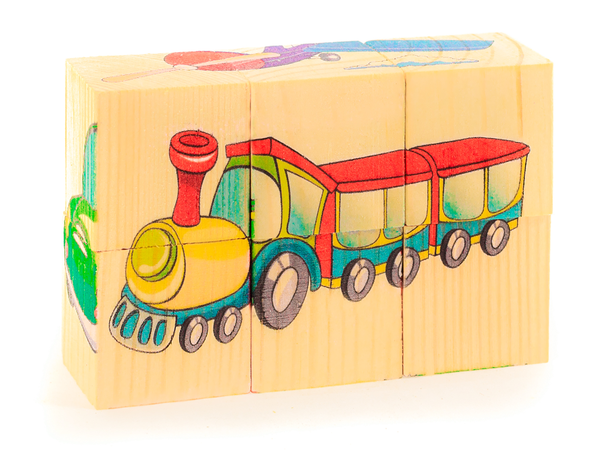 Развивающие деревянные игрушки Кубики Транспорт