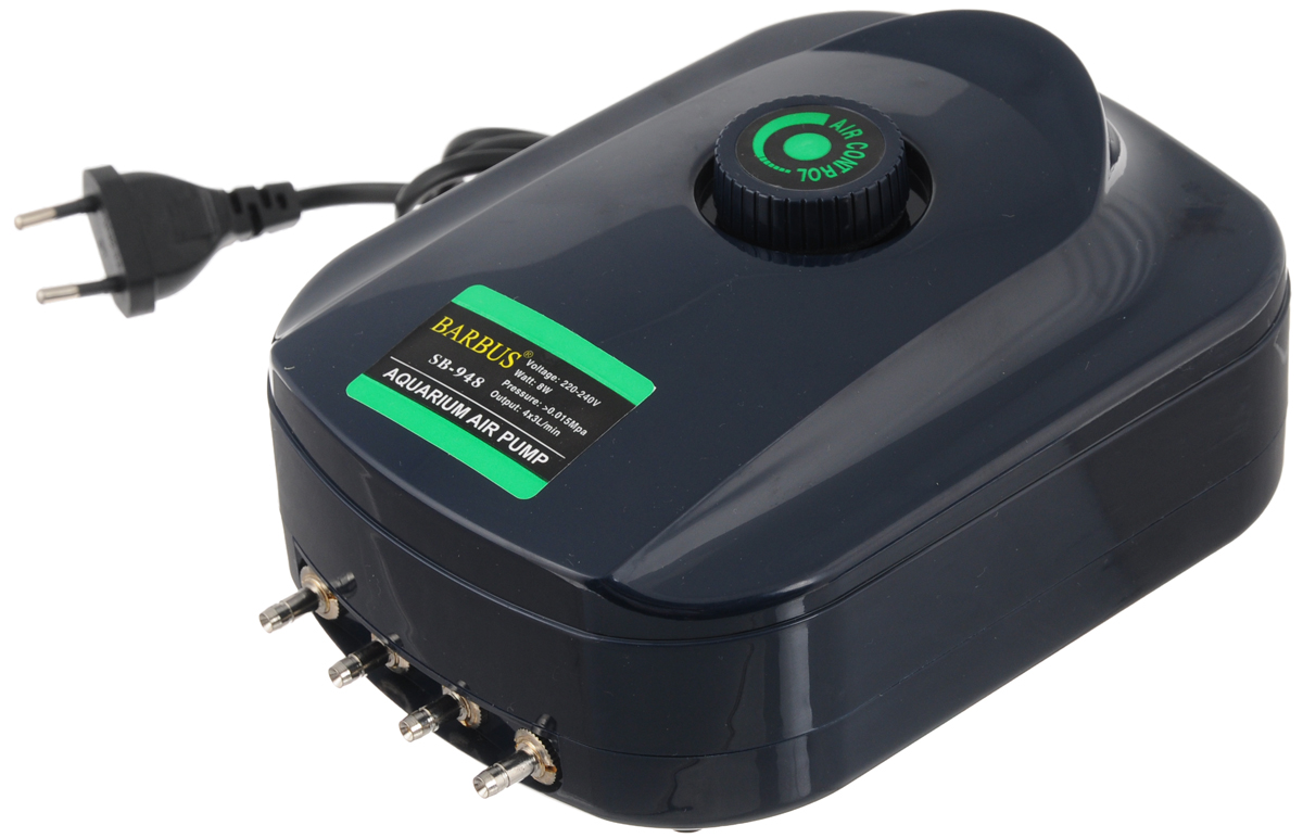 Компрессор воздушный Barbus SB-948, с регулятором, 4 канала, 3,5 л/мин, 8 ВтAIR 013Воздушный компрессор Barbus SB-948 изготовлен из высококачественных материалов. Новейшая система сжатия воздуха, многоуровневая демпфирующая система для снижения шума и вибрации. Изделие оснащено регулятором скорости потока воздуха.Мощность:8 Вт.Напряжение: 220-240В.Частота: 50/60 Гц.Производительность: 4 х 3,5 л/мин.Рекомендуемый объем аквариума: 4 х 50 - 250 л. Уважаемые клиенты!Обращаем ваше внимание навозможныеизмененияв цветенекоторых деталейтовара. Поставка осуществляется в зависимости от наличия на складе.