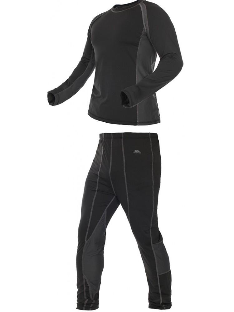 Термобелье мужское Trespass Vigor: лонгслив, брюки, цвет: черный. MABLSEG20001. Размер L (52)MABLSEG20001Мужской комплект термобелья Trespass Vigor изготовлен из полиэстера с добавлением эластана. Он обеспечивает отвод лишней влаги, сохраняет тело сухим. Отлично подходит для занятия спортом.