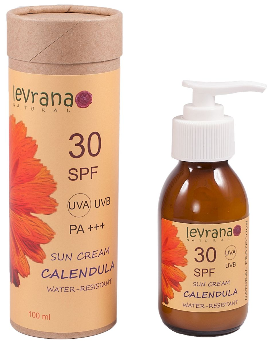 Levrana Солнцезащитный крем для тела Календула 30SPF, 100 млSP01Естественная защита от солнца для всей семьи, в том числе для самых маленьких. SPF фактор 30.Компания levrana разработала уникальный солнцезащитный крем, наша косметика абсолютно безопасная. В качестве солнцезащитного ингредиента мы используем физические фильтры - Диоксид Титана и Оксид Цинка. В отличии от вредных органических фильтров, наши фильтры не впитываются в кожу, оставаясь на поверхности, тем самым создавая безопсный солнцезащитный экран.Наш солнцезащитный крем водостойкий, а также очень экономичный.
