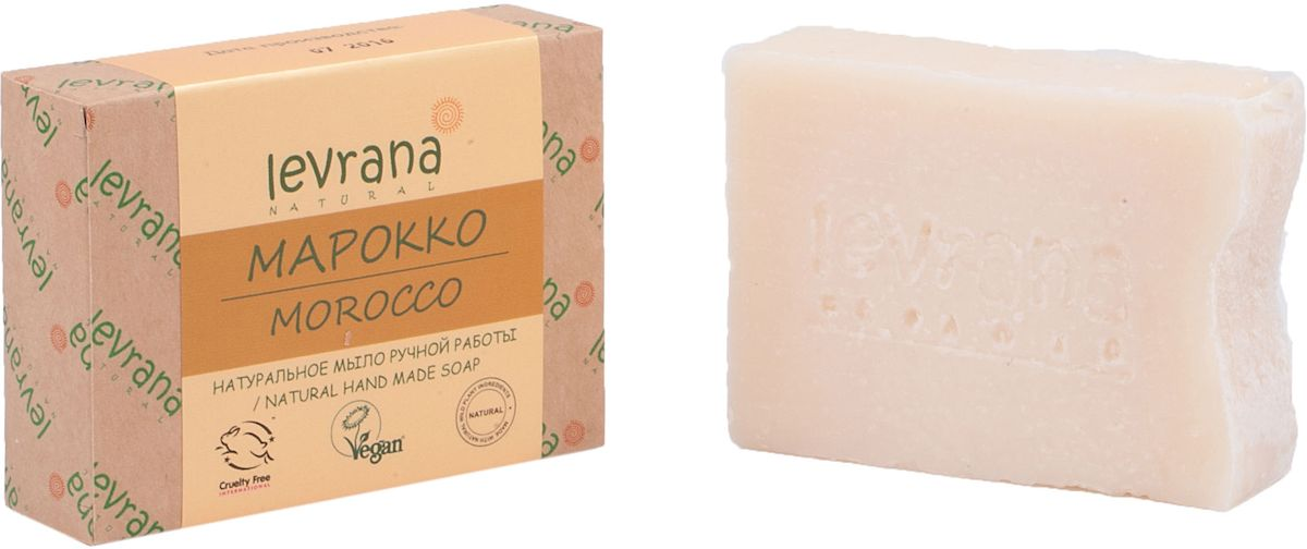 Levrana Натуральное мыло ручной работы Марокко, 100 гNHMS09Натуральное мыло очень бережно очищает кожу лица и тела. Ежедневное умывание позволит вам избавиться от сальности, вы забудете что такое проблемная Т-зона.Натуральное мыло ручной работы сделано только на растительных маслах, и обогащено экстрактами растений и ягод.