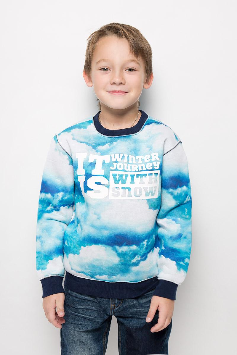 Свитшот для мальчика Gulliver Облака, цвет: голубой. 21608BKC1602. Размер 128, 7-8 лет свитшот для мальчика gulliver цвет белый черный 21612btc1601 размер 158