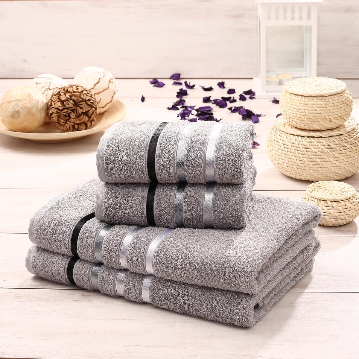 Набор полотенец Karna Bale, цвет: серый, 4 шт953/CHAR019Набор Karna Bale включает 2 полотенца для лица, рук и 2 банных полотенца. Изделия выполнены из высококачественного хлопка с отделкой в виде полос. Каждое полотенце отличается нежностью и мягкостью материала, утонченным дизайном и превосходным качеством. Они прекрасно впитывают влагу, быстро сохнут и не теряют своих свойств после многократных стирок. Такой набор создаст в вашей ванной царственное великолепие и подарит чувство ослепительного торжества. А также станет приятным подарком для ваших близких или друзей. Набор украшен текстильной лентой. Размер:Полотенце для рук и лица: 50 x 80 см.Банное полотенце: 70 x 140 см.