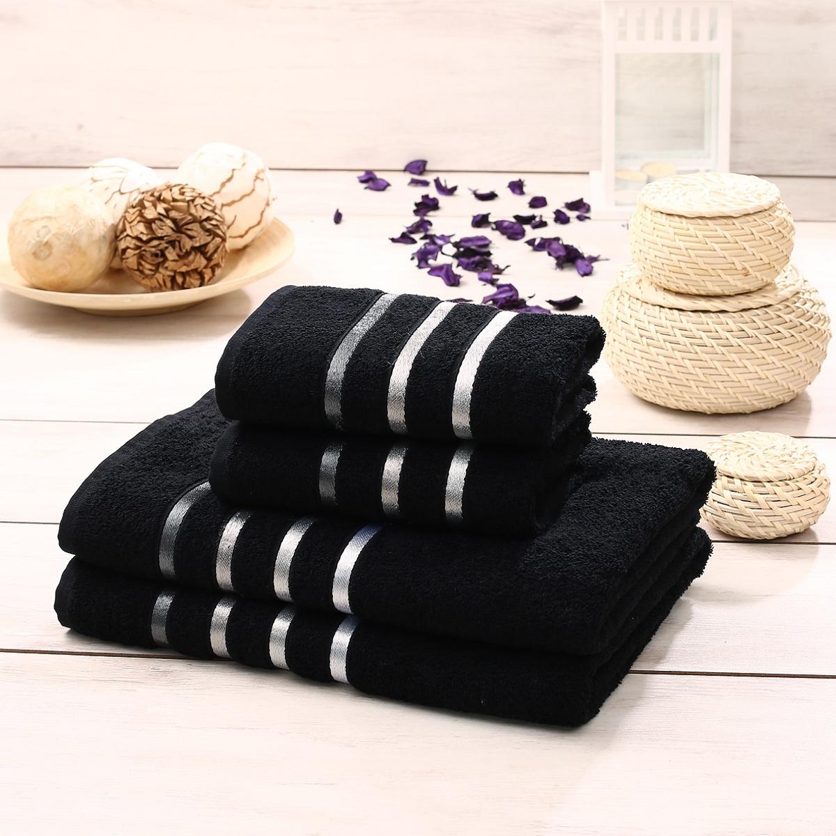 Набор полотенец Karna Bale, цвет: черный, 50 х 80 см, 70 х 140 см, 4 штBTY-10113476ФНабор полотенец Karna Bale изготовлен из высококачественных хлопковых нитей.Хлопковые нити прядутся из длинных волокон. Длина волокон хлопковой нити влияет на свойства ткани, чем длиннее волокна, тем махровое изделие прочнее, пушистее и мягче на ощупь.Также махровое изделие отлично впитывает воду и быстро сохнет. На впитывающие качества махры (ее гигроскопичность) влияет состав волокон. Махра абсолютно не аллергенна, имеет высокую воздухопроницаемость и долгий срок использования ткани. Отличительной особенностью данной модели является её оригинальный дизайн и подарочная упаковка. В наборе: 2 банных полотенца: 70 x 140 см 2 полотенца для лица и рук: 50 х 80 см