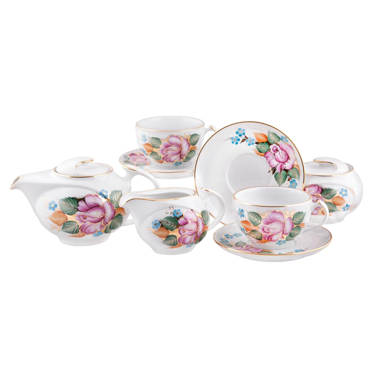 Сервиз чайный Башфарфор Розалия, 15 предметовСЧН 22.15.1 Ж.08Сервиз чайный из белого фарфора рассчитан на 6 персон. Тонкий белый фарфор.Изумительная посуда для настоящих ценителей с хорошим вкусом, подходит и для особых случаев и на каждый день. В состав набора входит: чашка 250мл 6 шт, блюдце 14,5см 6 шт, сахарница 300мл 1шт, чайник 600мл 1 шт, Молочник 250мл 1шт.