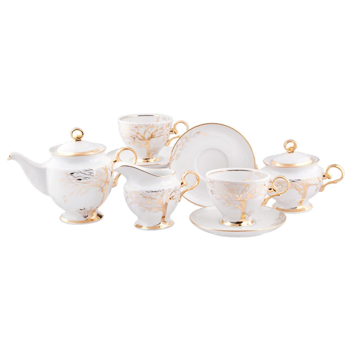 Сервиз чайный Башфарфор Листопад, 15 предметовСЧН 35.15.01.Ж139Сервиз чайный из белого фарфора рассчитан на 6 персон. Тонкий белый фарфор.Изумительная посуда для настоящих ценителей с хорошим вкусом, подходит и для особых случаев и на каждый день. В состав набора входит: чашка 250мл 6 шт, блюдце 14,5см 6 шт, сахарница 300мл 1шт, чайник 600мл 1 шт, Молочник 250мл 1шт.