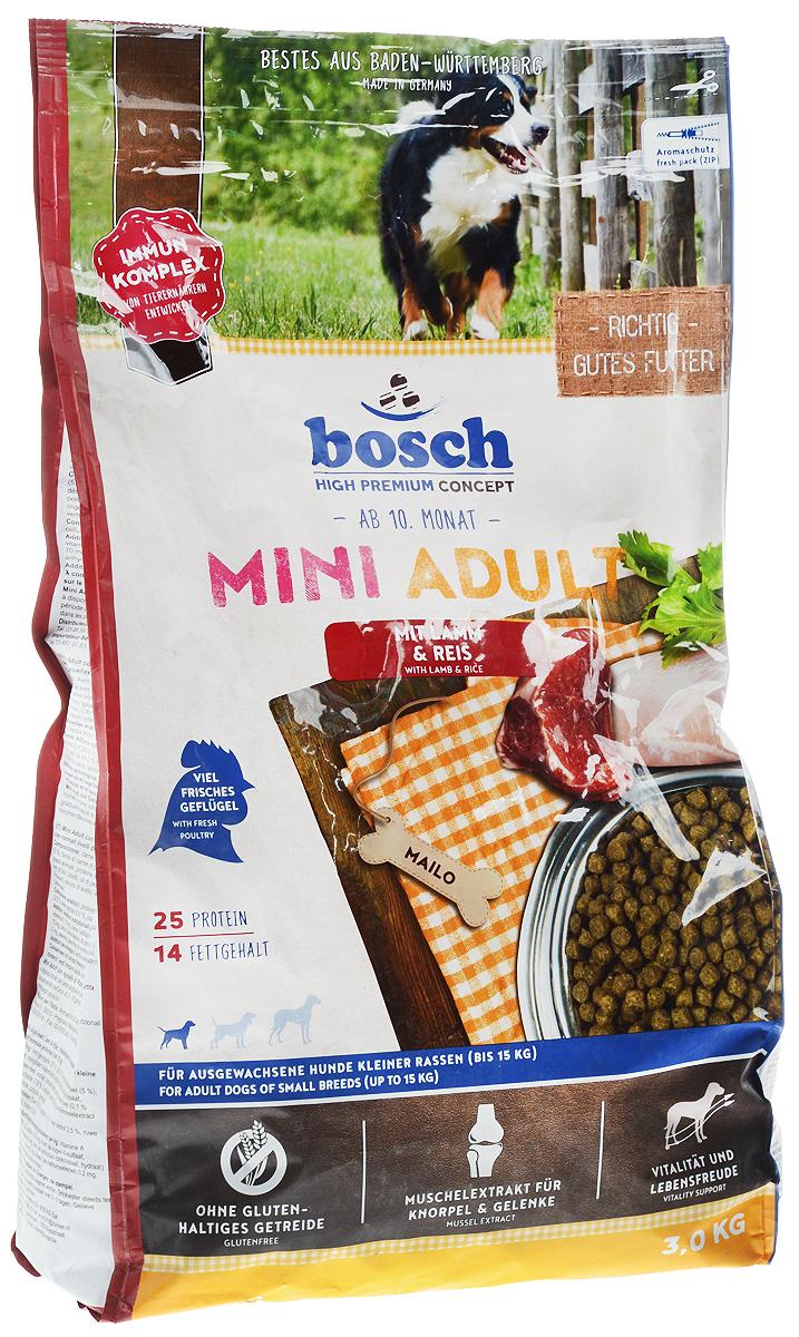 Корм сухой Bosch Mini Adult для взрослых собак мелких пород, ягненок с рисом, 3 кг бош сухой корм для собак bosch my friend mix 20 кг