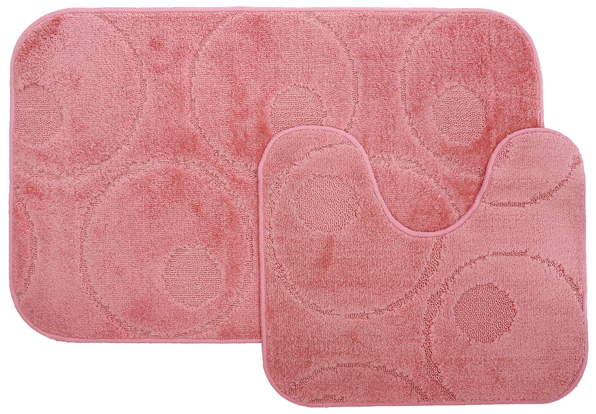 """Набор MAC Carpet """"Рома. Круги"""", выполненный из полипропилена, состоит из двух ковриков для ванной комнаты, один из которых имеет вырез под унитаз. Противоскользящее основание изготовлено из термопластичной резины. Коврики мягкие и приятные на ощупь, отлично впитывают влагу и быстро сохнут. Высокая износостойкость ковриков и стойкость цвета позволит вам наслаждаться покупкой долгие годы. Можно стирать вручную или в стиральной машине на деликатном режиме при температуре 30°С."""