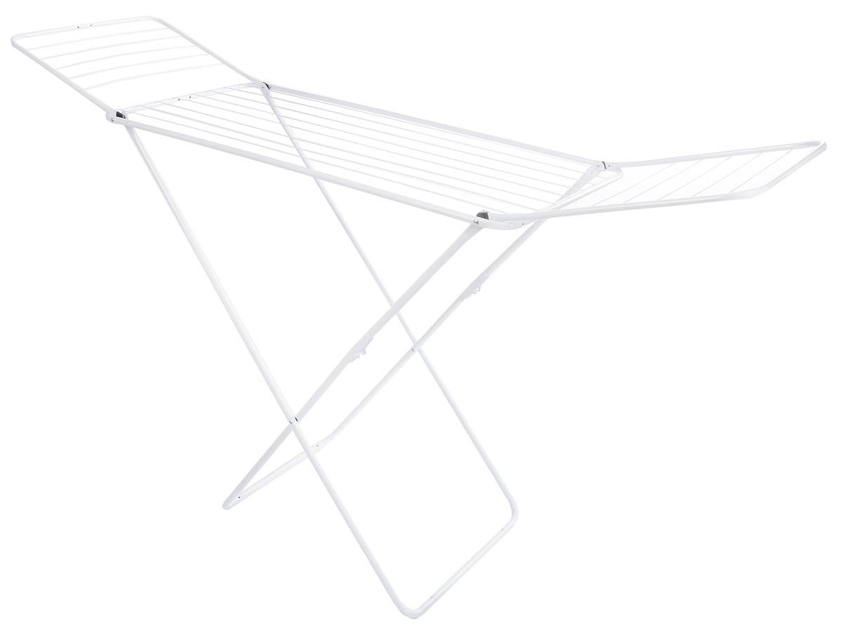 Сушилка для белья Gimi Jolly, напольная, цвет: белый, 180 x 55 x 93 см22729Напольная сушилка для белья Gimi Jolly проста и удобна в использовании, компактно складывается, экономя место в вашей квартире. Сушилку можно использовать на балконе или дома.Она оснащена складными створками для сушки одежды во всю длину, а также имеет специальные пластиковые крепления в основе стоек, которые не царапают пол. Размер сушилки: 180 х 55 х 93 см.Общая длина реек: 18 м.