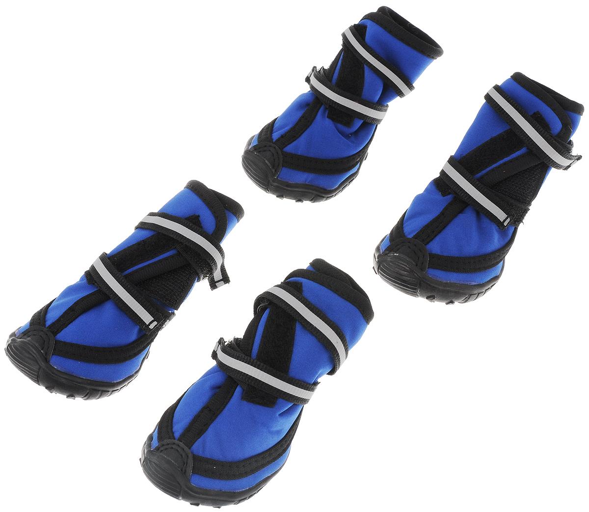 Сапоги для собак  Triol , унисекс, цвет: черный, синий. Размер M - Одежда, обувь, украшения
