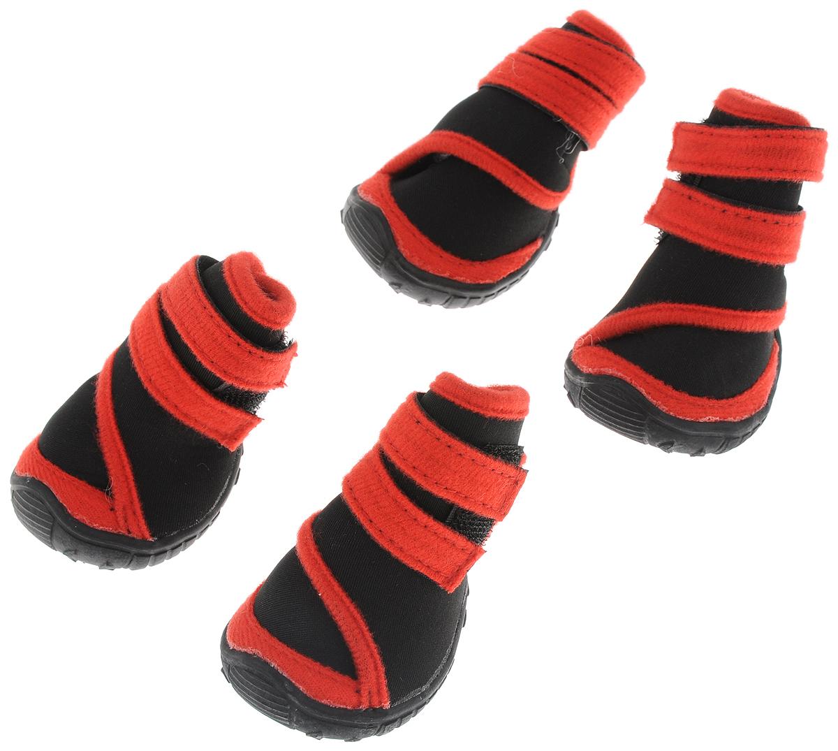 Сапоги для собак Triol, унисекс, цвет: черный, красный. Размер S