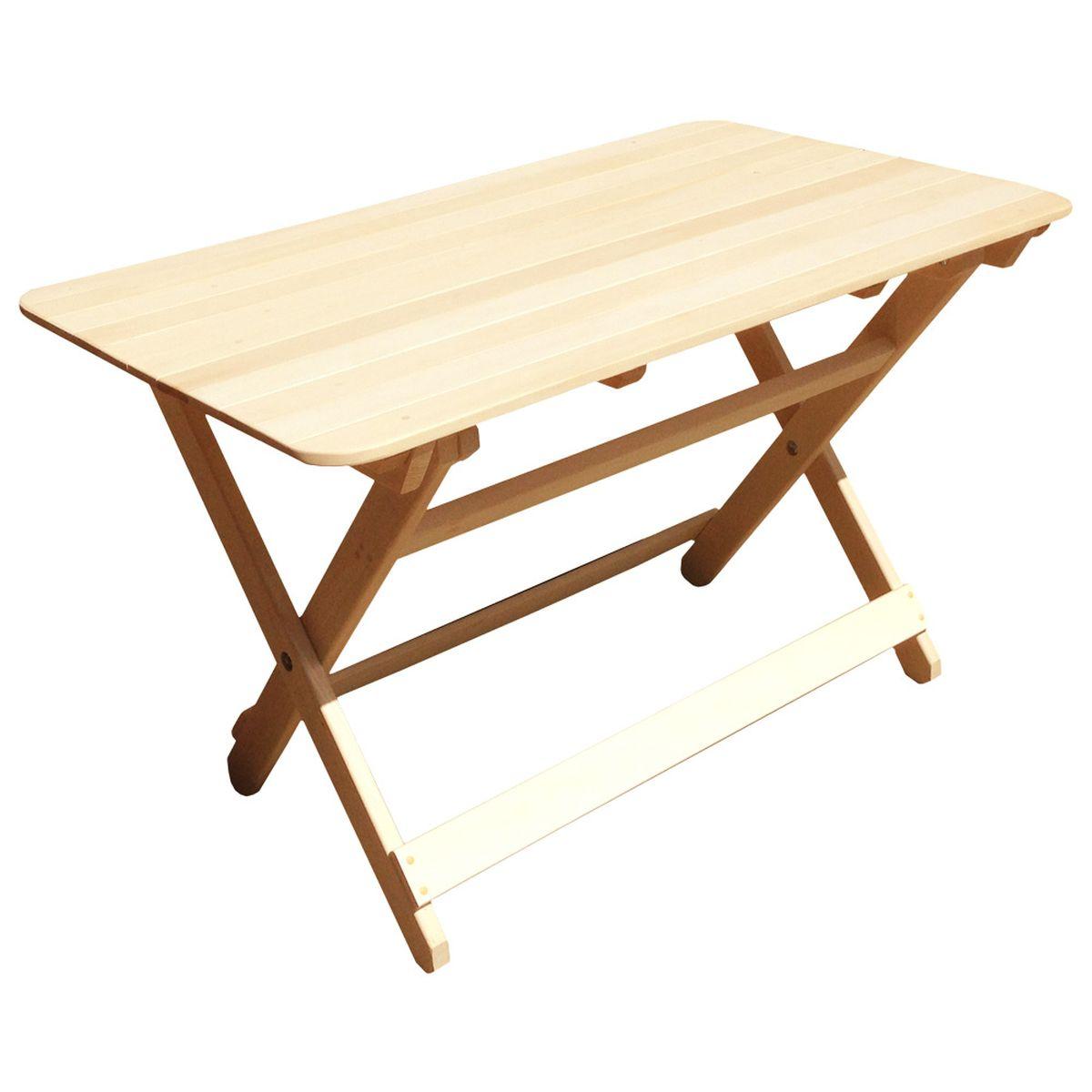 """Складной стол """"Банные штучки"""", выполненный из дерева, идеально подойдет для благоустройства дачного или садового участка, прекрасно впишется в интерьер дома, бани или сауны. За счет своего небольшого размера он займет мало места в багажнике, поэтому его можно взять с собой на природу."""