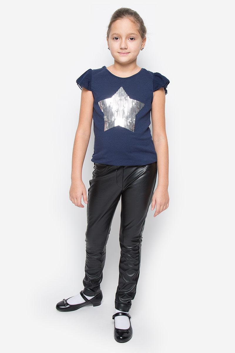 Брюки для девочки Gulliver Голливуд, цвет: черный. 21609GTC6307. Размер 158, 12-13 лет брюки для мальчика gulliver цвет черный 21612btc5601 размер 158