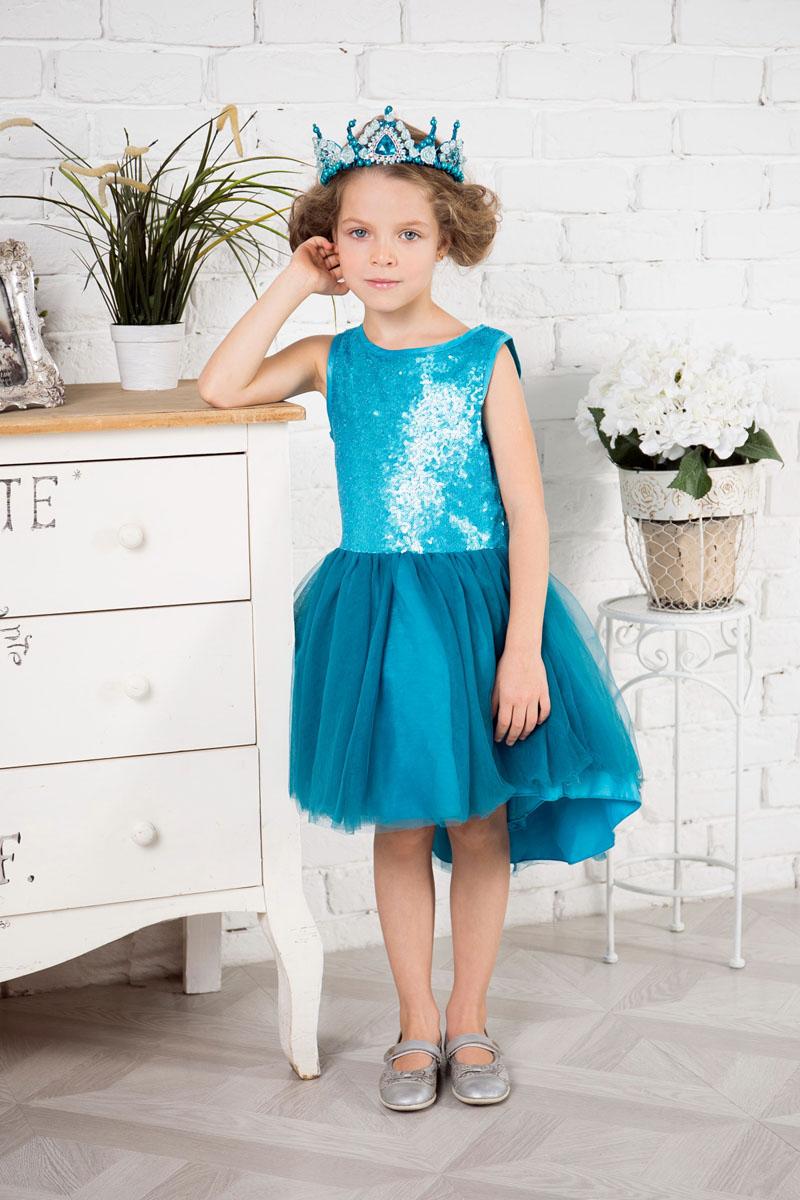 Платье для девочки Sweet Berry, цвет: бирюзово-голубой. 215918. Размер 104215918Нарядное платье Sweet Berry для девочки без рукавов и с круглым вырезом горловины. Верх модели расшит пайетками. Удлиненная задняя часть создает эффект шлейфа. Застегивается на потайную молнию на спинке.
