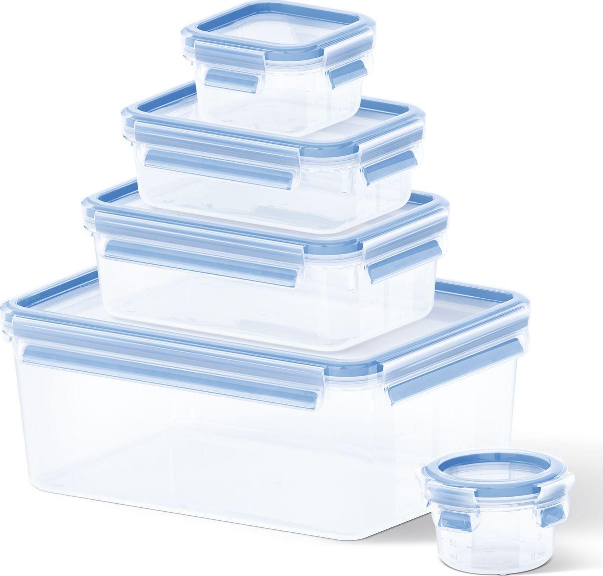 Набор контейнеров Emsa Clip&Close, 5 шт508568Набор контейнеров Emsa Clip&Close изготовлен из высококачественного антибактериального пищевого пластика, имеющего сертификат BPA-free, который выдерживает температуру от -40°С до +110°С, не впитывает запахи и не изменяет цвет. Это абсолютно гигиеничный продукт, который подходит для хранения даже детского питания. 100% герметичность - идеально не только для хранения, но и для транспортировки пищи. Герметичность достигается за счет специальных силиконовых прослоек, которые позволяют использовать контейнер для хранения не только пищи, но и жидкости. В таком контейнере продукты долгое время сохраняют свою свежесть - до 4-х раз дольше по сравнению с обычными, в том числе и вакуумными контейнерами. 100% гигиеничность - уникальная технология применения медицинского силикона в уплотнителе крышки: никаких полостей - никаких микробов. Изделие снабжено крышкой, плотно закрывающейся на 4 защелки. 100% удобство - прозрачные стенки позволяют просматривать содержимое, сохранение пространства за счёт лёгкой установки контейнеров друг на друга. Изделие подходит для домашнего использования, для пикников, поездок, отдыха на природе, его можно взять с собой на работу или учебу. Можно использовать в СВЧ-печах, холодильниках, посудомоечных машинах, морозильных камерах.Размер контейнеров: 0,15 л - 9,2 x 5,9 см0,25 л - 10,2 x 10,2 x 5,9 см0,55 л - 16,3 x 11,3 x 5,8 см1 л - 19,7 x 13,6 x 7,2 см3,7 л - 26,3 x 19,5 x 11 см.