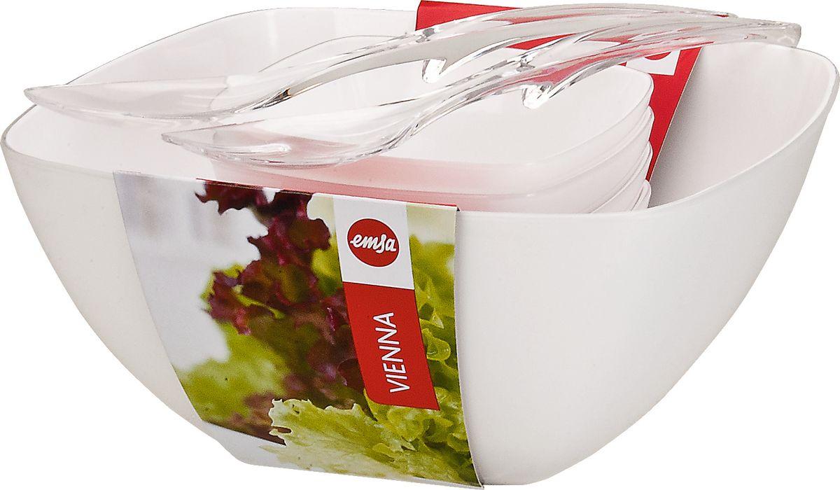 Набор для салата Emsa Vienna, цвет: белый, 7 предметов512766Набор для сервировки салата Emsa Vienna будет прекрасным дополнением к оформлению праздничного стола. Оптимальный размер чаши позволит аккуратно смешать все ингредиенты, а классический дизайн впишется в любой интерьер. Набор состоит из: - большой чашки размером 26,5 х 26,5 см- 4-х чашек размером 14 х 14 см- 2 ложек.