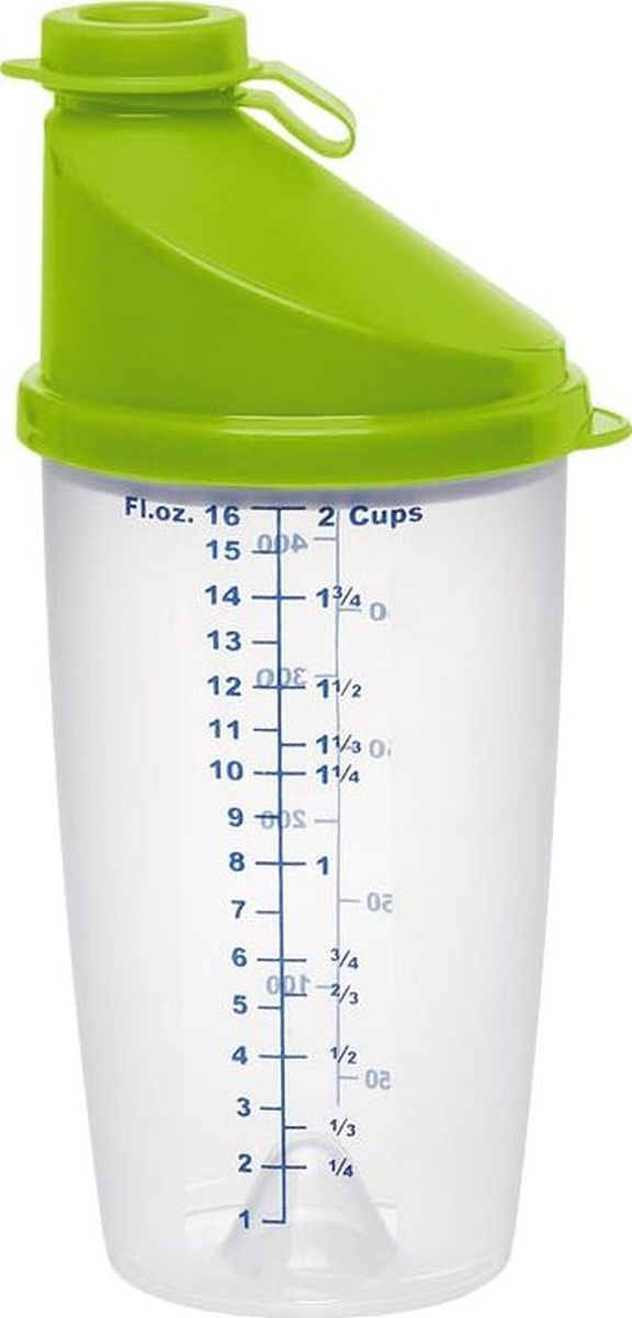Шейкер Emsa Superline, цвет: зеленый, 0,5 л513518Шейкер Emsa Superline оснащен мерной шкалой, крышкой и закрывающимся носиком. Идеален для замера и смешивания жидкостей. Отлично подойдет для приготовления салатных заправок, коктейлей, яичницы-болтуньи и многого другого. Подходит для микроволновой печи. Можно мыть в посудомоечной машине.