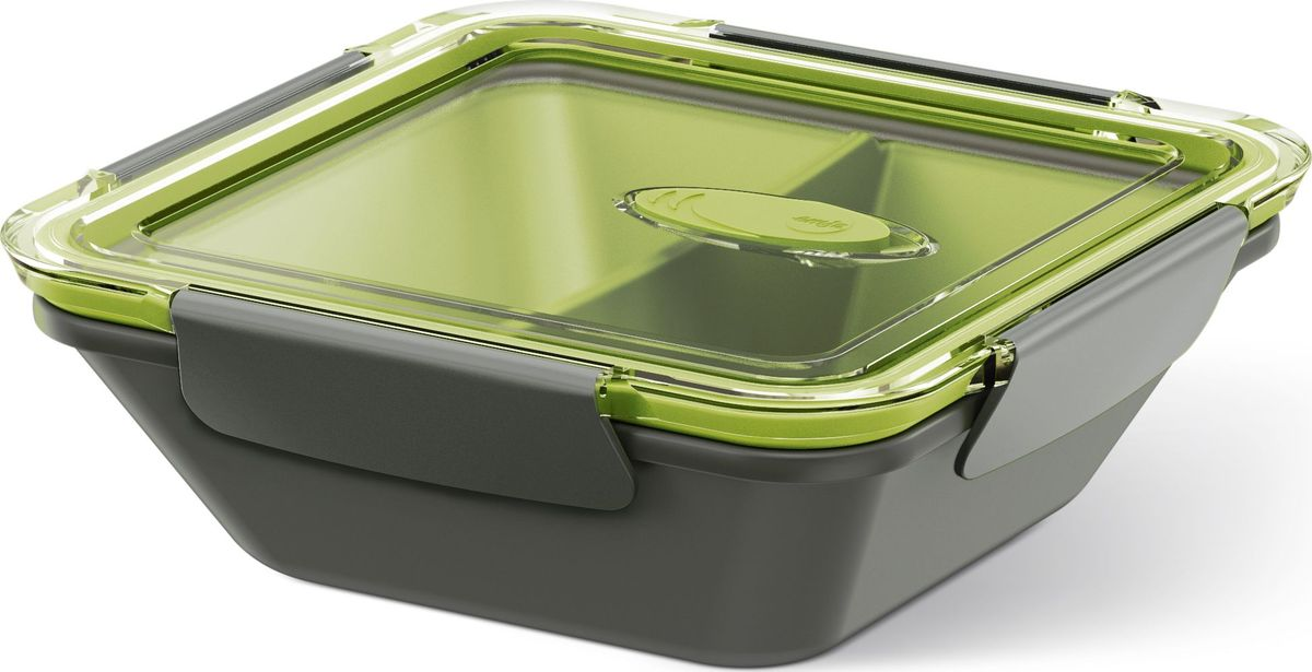 Ланч-бокс Emsa Bento Box, квадратный, цвет: серый, зеленый, 900 мл513952Ланч-бокс Emsa Bento Box - еда с собой в стильной упаковке. В удобном и практичном ланч-боксе еда дольше останется свежей, вкусной и надежно упакованной.На крышке имеетсяклапан для щадящего режима разогревания в микроволновке. В контейнере предусмотрены практичные отделениями для разных блюд. Ланч-бокс подходит не только для разогрева пищи, но и для заморозки. Можно мыть в посудомоечной машине. Современный дизайн позволяет брать контейнер с собой на учебу, работу или прогулку.