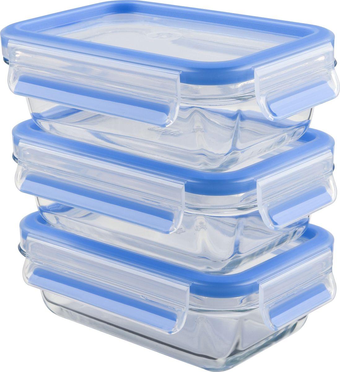 Набор контейнеров Emsa Clip&Close Glass, цвет: синий, прозрачный, 500 мл, 3 шт514170Набор контейнеров с крышками Emsa Clip&Close Glass для хранения продуктов изготовлен из закалённого и абсолютно прозрачного стекла. Не впитывает запахи и не изменяет цвет. Это абсолютно гигиеничный продукт, который подходит для хранения даже детского питания.Материал чаши диамантовое боросиликатное стекло, сделанное в Европе, дает возможность использовать контейнер для приготовления пищи в духовке с температурой до 400°C.Крышка изготовлена из высококачественного антибактериального пищевого пластика, имеющего сертификат BPA-free.- 100% герметичность - идеально не только для хранения, но и для транспортировки пищи. Герметичность достигается за счет специальных силиконовых уплотнителей в крышке, которые позволяют использовать контейнер для хранения не только пищи, но и жидкости. В таком контейнере продукты долгое время сохраняют свою свежесть - до 4-х раз дольше по сравнению с обычными, в том числе и вакуумными контейнерами. - 100% гигиеничность - уникальная технология применения медицинского силикона в уплотнителе крышки: никаких полостей - никаких микробов. Изделие снабжено крышкой, плотно закрывающейся на 4 защелки. - 100% удобство - прозрачные стенки позволяют просматривать содержимое, сохранение пространства за счёт лёгкой установки контейнеров друг на друга.Изделие подходит для домашнего использования, для пикников, поездок, отдыха на природе, его можно взять с собой на работу или учебу. Можно использовать в духовках, СВЧ-печах, холодильниках, посудомоечных машинах, морозильных камерах. Размеры контейнеров: 17,5 х 12 х 5,9 см.