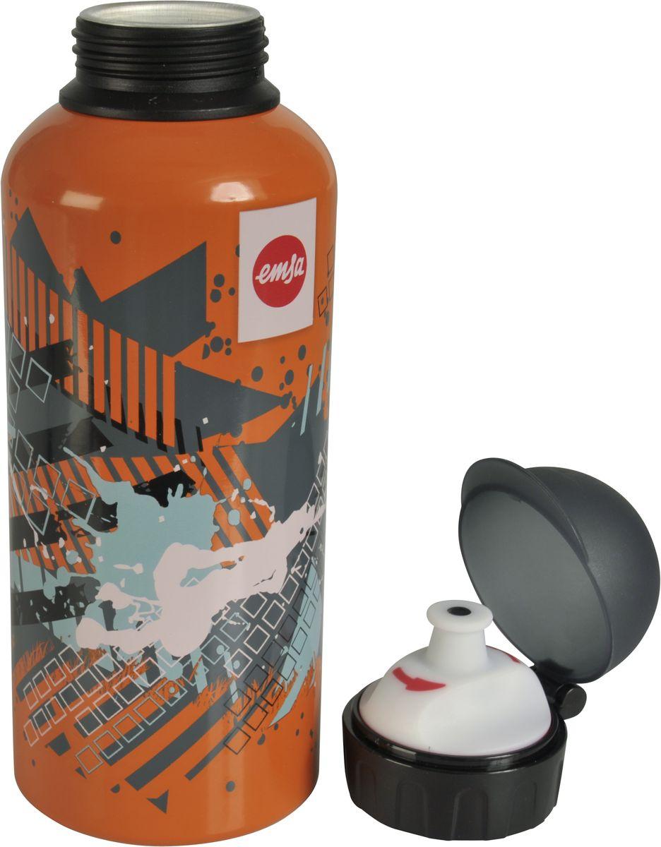"""Оригинальная бутылка-фляга Emsa """"Teens. Splash"""" оснащена питьевым клапаном, благодаря которому, пить можно прямо на ходу, не боясь разлить содержимое.  Особенности бутылки:  BPA Free.  100 % герметичная.  100 % надежная: крышка при открытом клапане не закрывается.  100 % гигиенична благодаря наружной резьбе.  Питьевой клапан легко моется. Материал бутылки устойчив к воздействию фруктовых кислот.  Яркий дизайн и удобство использования сделают эту бутылку отличным спутником на прогулке, учебе или в путешествии."""