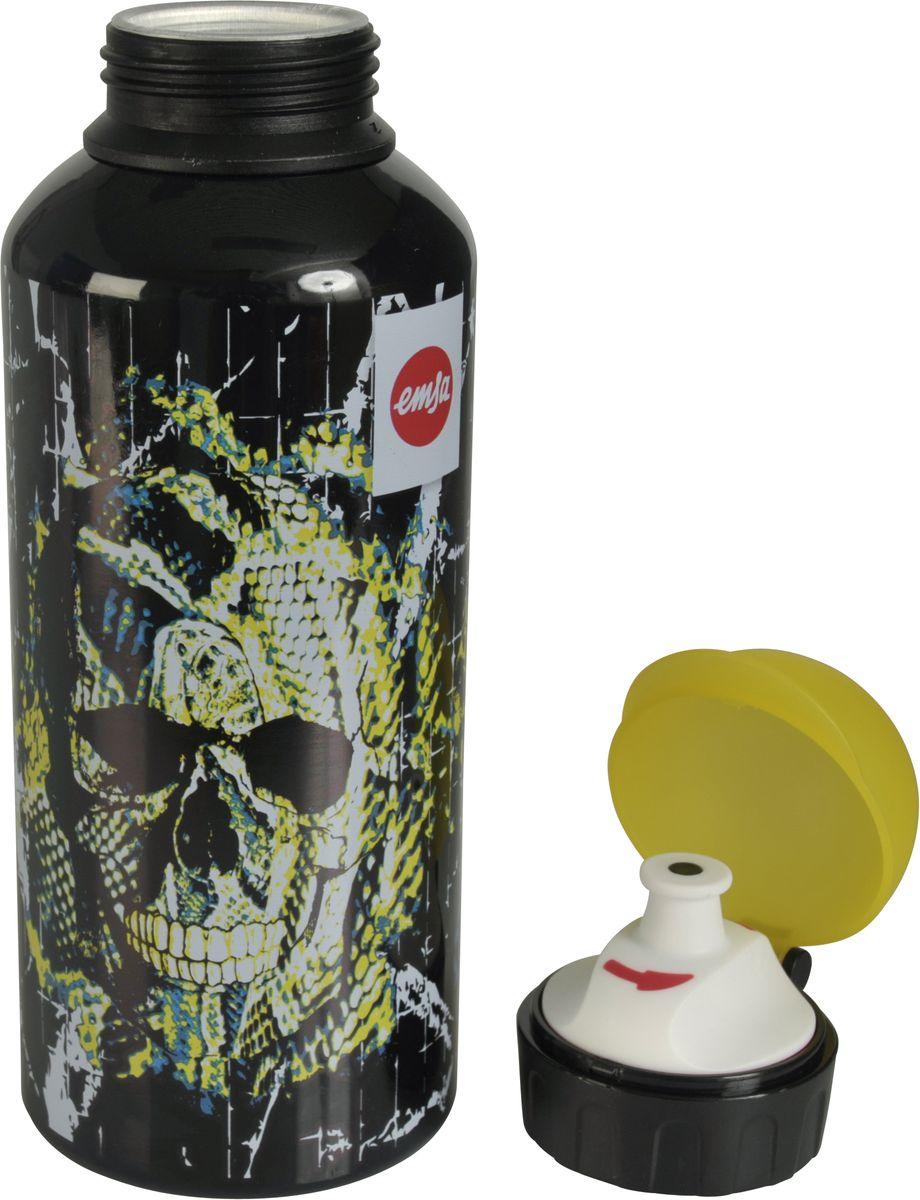 Бутылка Emsa Teens. Skull, с крышкой, 0,6 л514406Оригинальная бутылка-фляга Emsa Teens. Skull оснащена питьевым клапаном, благодаря которому, пить можно прямо на ходу, не боясь разлить содержимое.Особенности бутылки: BPA Free. 100 % герметичная. 100 % надежная: крышка при открытом клапане не закрывается. 100 % гигиенична благодаря наружной резьбе.Питьевой клапан легко моется.Материал бутылки устойчив к воздействию фруктовых кислот.Яркий дизайн и удобство использования сделают эту бутылку отличным спутником на прогулке, учебе или в путешествии.