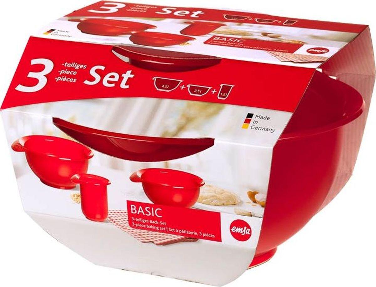 Набор мисок Emsa Basic, цвет: красный, 3 шт kitchenaid набор круглых чаш для запекания смешивания 1 4 л 1 9 л 2 8 л 3 шт красные