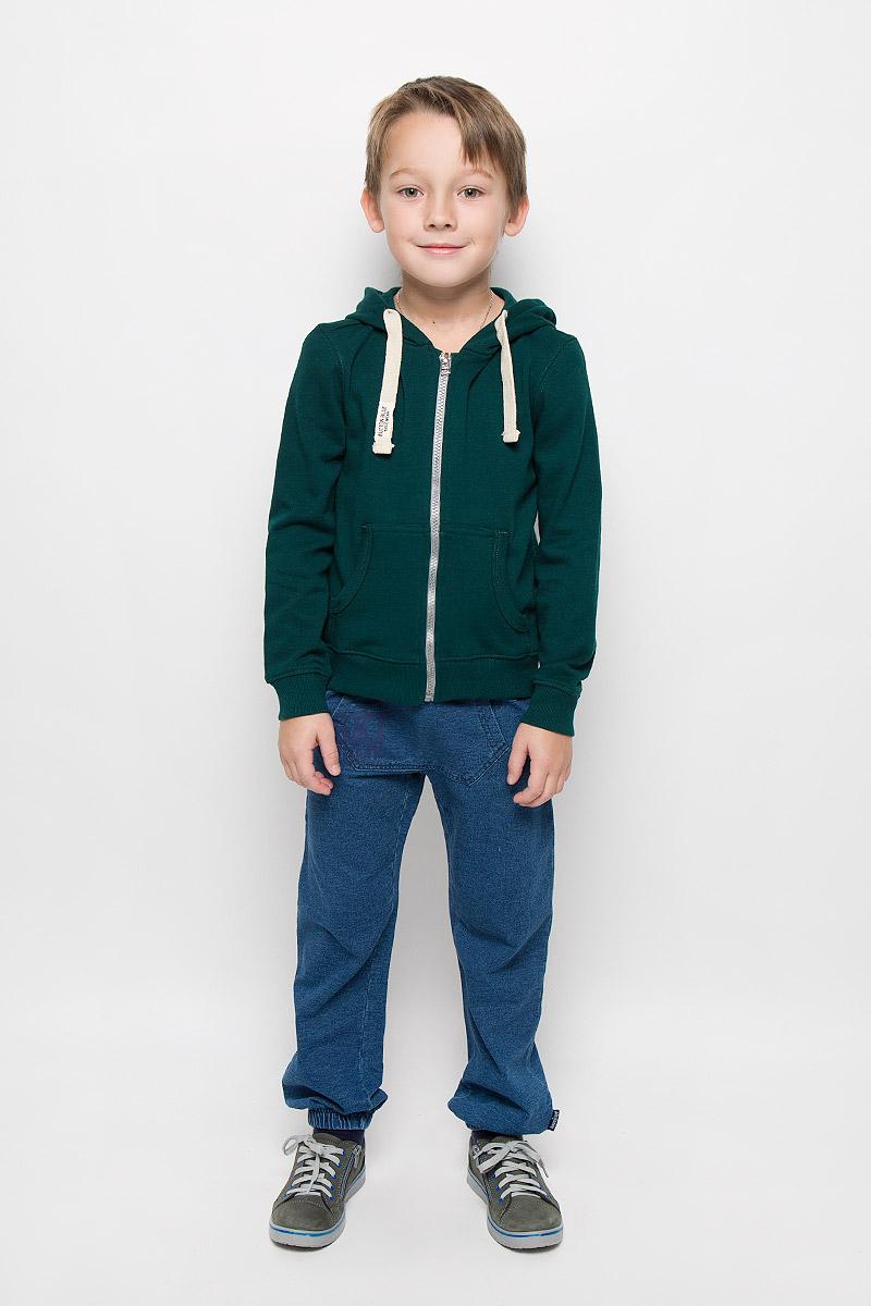 Толстовка для мальчика Button Blue, цвет: темно-зеленый. 216BBBC16020500. Размер 122, 7 лет