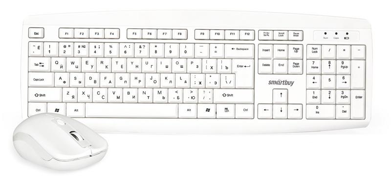 Smartbuy One 212332AG, White клавиатура + мышьSBC-212332AG-WКомплект из беспроводной клавиатуры и мыши Smartbuy One 212332AG позволяет работать продолжительное время, используя один комплект батареек. Компьютерная мышь имеет высокое разрешение и подходит как для игр, так и для офисной работы. Эргономичная форма подойдет для работы как правой, так и левой рукой. Используется только один нано-ресивер для работы как клавиатуры, так и мыши. Световая индикация низкого уровня заряда напомнит о своевременной замене батарей.