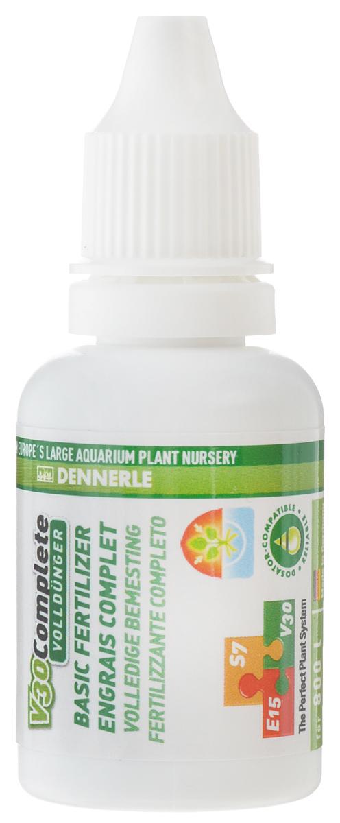 Удобрение для аквариумных растений Dennerle V30 Complete, универсальное, 25 млDEN4536Удобрение для аквариумных растений Dennerle V30 Complete содержит все важные питательные вещества и ценные микроэлементы. Активные питательные вещества удобрения действуют мгновенно. Удобрение препятствует появлению желтых полупрозрачных листьев, способствуя образованию яркой зеленой листвы. Все питательные вещества защищены хелатами и доступны растениям длительное время. Не содержит фосфаты и нитраты.Дозировка: раз в 2 недели по 3 мл на 100 л аквариумной воды. При использовании в системе Dennerle Perfect Plant (V30 + E15 + S7) - 3 мл на 100 л аквариумной воды раз в 4 недели.