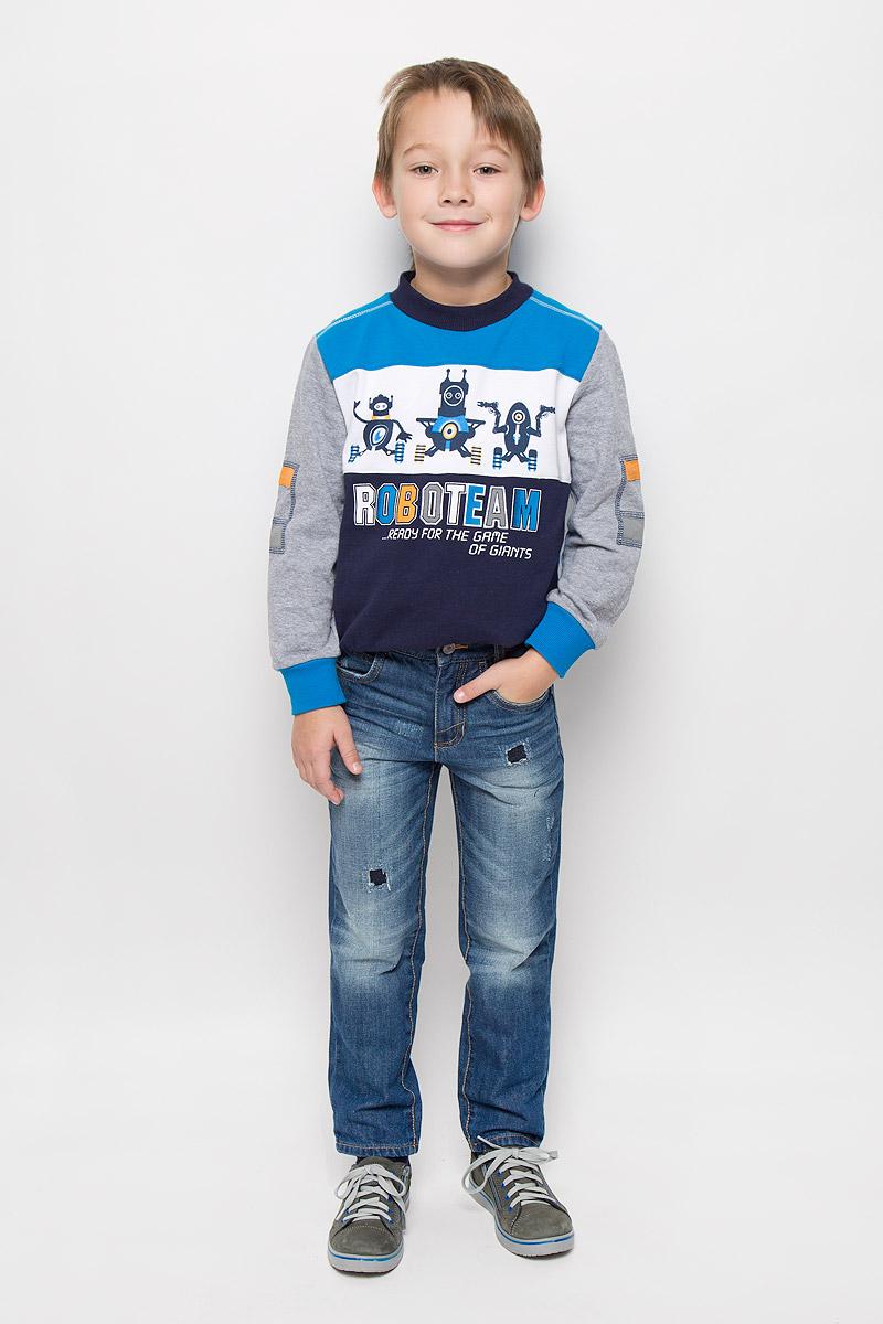 Джинсы для мальчика Tom Tailor, цвет: синий. 6204954.01.82_1095. Размер 1226204954.01.82_1095Стильные джинсы Tom Tailor, изготовленные из натурального хлопка, необычайно мягкие и приятные на ощупь, не сковывают движения и позволяют коже дышать, не раздражают даже самую нежную и чувствительную кожу ребенка, обеспечивая наибольший комфорт.Джинсы-скинни застегиваются на крючок в поясе и ширинку на застежке-молнии. С внутренней стороны пояс дополнен регулируемой эластичной резинкой, которая позволяет подогнать модель по фигуре. Спереди джинсы дополнены двумя втачными карманами и маленьким накладным кармашком, сзади - двумя накладными карманами. Модель оформлена контрастной прострочкой, перманентными складками, эффектом потертости и декоративными заплатками.
