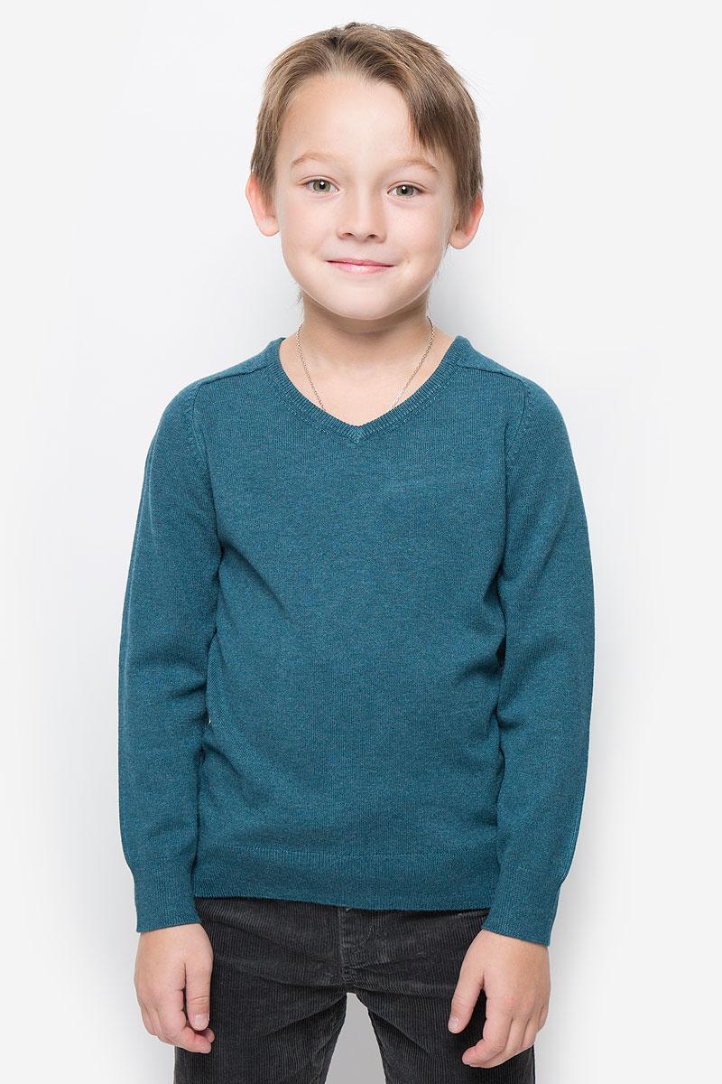Пуловер для мальчика Button Blue, цвет: темно-бирюзовый. 216BBBC34012500. Размер 128, 8 лет