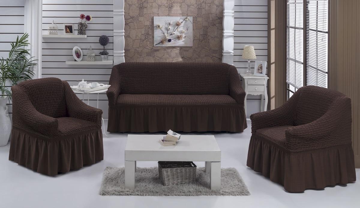 Набор чехлов для дивана и кресел Karna Bulsan, цвет: коричневый, 3 шт1717/CHAR005Набор Karna Bulsan состоит из чехла для трехместного дивана и двух чехлов для кресел. Универсальные чехлы изготовлены из высококачественного материала на основе полиэстера и хлопка и дополнены широкой юбкой, скрывающей низ мебели. Изделия оснащены фиксаторами, которые позволяют надежно закрепить чехол на мебели. Фиксаторы вставляются в расстояние между спинкой и сиденьем, фиксируя чехол в одном положении, и не позволяя ему съезжать и терять форму. Фиксаторы особенно необходимы в том случае, если у вас кожаная мебель или мебель нестандартных габаритов. Характеристики:Плотность: 360 гр/м2. Ширина и глубина посадочного места (кресло): 70-80 см. Высота спинки от посадочного места (кресло): 70-80 см Высота подлокотников (кресло): 35-45 см. Ширина подлокотников (кресло): 25-35 см. Ширина посадочного места (диван): 210-260 см. Глубина посадочного места (диван): 70-80 см Высота спинки от посадочного места (диван): 70-80 см. Ширина подлокотников (диван): 25-35 см.Высота юбки (диван и кресло): 35 см.
