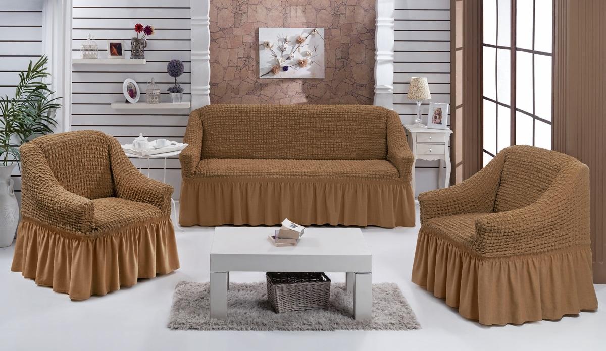 Набор чехлов для мягкой мебели Burumcuk Bulsan, цвет: горчичный, размер: стандарт, 3 шт1717/CHAR006Набор чехлов для мягкой мебели Burumcuk Bulsan придаст вашеймебели новый внешний вид. Каждый элемент интерьерануждается в уходе и защите. В большинстве случаевпотертости появляются на диванах и креслах. В набор входят чехол для трехместного дивана и два чехла для кресла. Чехлы изготовлены из 60% полиэстера и 40% хлопка. Такой материал прекрасно переносит нагрузки, долго не стареет и его просто очистить от грязи. Набор чехлов Burumcuk Bulsan создан для тех, кто не планирует покупать новую мебель каждый год.Размер кресла:Ширина и глубина посадочного места: 70-80 см.Высота спинки от посадочного места: 70-80 см.Высота подлокотников: 35-45 см.Ширина подлокотников: 25-35 см.Высота юбки: 35 см.Размер дивана:Ширина посадочного места: 210-260 см.Глубина посадочного места: 70-80 см.Высота спинки от посадочного места: 70-80 см.Ширина подлокотников: 25-35 см.Высота юбки: 35 см.