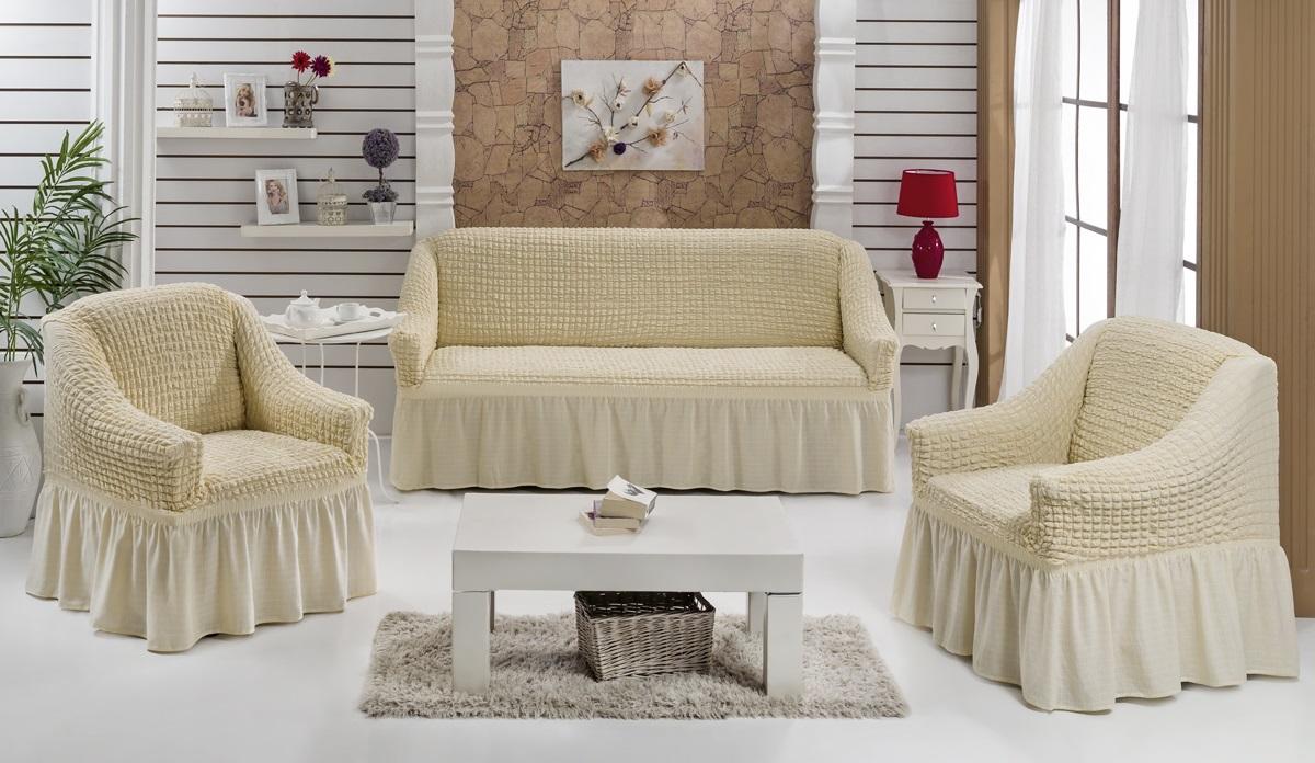 Набор чехлов для мягкой мебели Burumcuk Bulsan, цвет: натуральный, размер: стандарт, 3 шт1717/CHAR010Набор чехлов для мягкой мебели Burumcuk Bulsan придаст вашеймебели новый внешний вид. Каждый элемент интерьерануждается в уходе и защите. В большинстве случаевпотертости появляются на диванах и креслах. В набор входят чехол для трехместного дивана и два чехла для кресла. Чехлы изготовлены из 60% полиэстера и 40% хлопка. Такой материал прекрасно переносит нагрузки, долго не стареет и его просто очистить от грязи. Набор чехлов Karna Bulsan создан для тех, кто не планирует покупать новую мебель каждый год.Размер кресла:Ширина и глубина посадочного места: 70-80 см.Высота спинки от посадочного места: 70-80 см.Высота подлокотников: 35-45 см.Ширина подлокотников: 25-35 см.Высота юбки: 35 см.Размер дивана:Ширина посадочного места: 210-260 см.Глубина посадочного места: 70-80 см.Высота спинки от посадочного места: 70-80 см.Ширина подлокотников: 25-35 см.Высота юбки: 35 см.