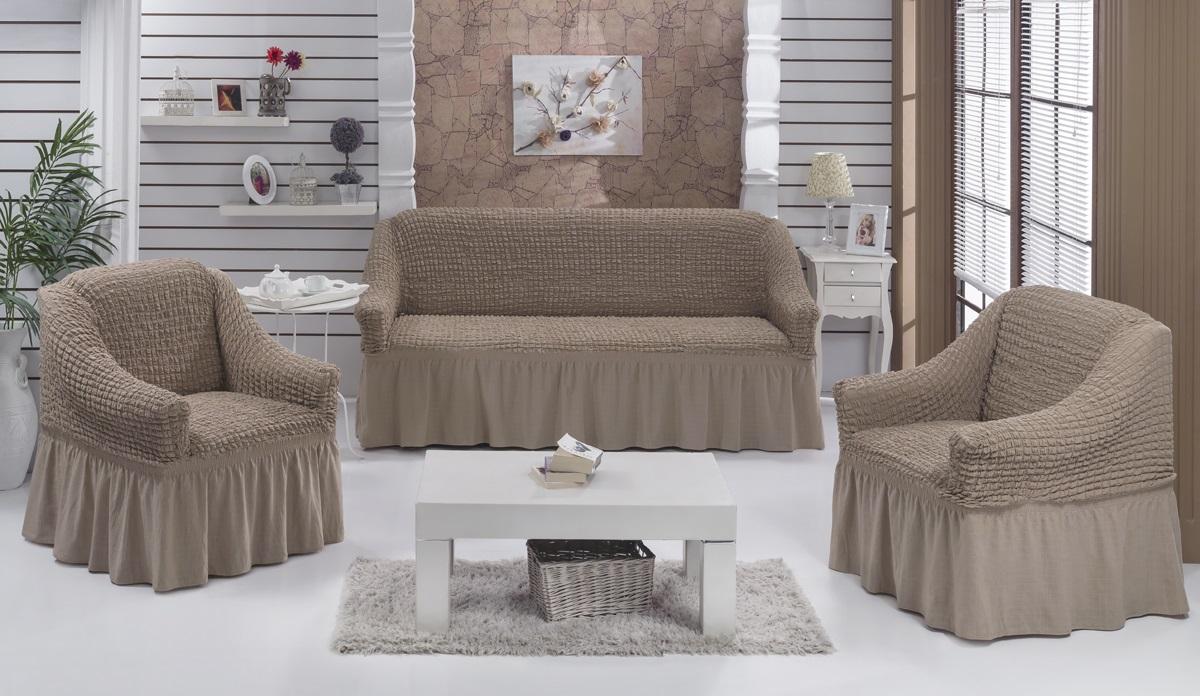 Набор чехлов для мягкой мебели Burumcuk Bulsan, цвет: капучино, размер: стандарт, 3 шт1717/CHAR011Набор чехлов для мягкой мебели Burumcuk Bulsan придаст вашеймебели новый внешний вид. Каждый элемент интерьерануждается в уходе и защите. В большинстве случаевпотертости появляются на диванах и креслах. В набор входит чехол для трехместного дивана и два чехла для кресла. Чехлы изготовлены из 60% полиэстера и 40% хлопка. Такой материал прекрасно переносит нагрузки, долго не стареет и его просто очистить от грязи. Набор чехлов Karna Bulsan создан для тех, кто не планирует покупать новую мебель каждый год.Размер кресла:Ширина и глубина посадочного места: 70-80 см.Высота спинки от посадочного места: 70-80 см.Высота подлокотников: 35-45 см.Ширина подлокотников: 25-35 см.Высота юбки: 35 см.Размер дивана:Ширина посадочного места: 210-260 см.Глубина посадочного места: 70-80см.Высота спинки от посадочного места: 70-80 см.Ширина подлокотников: 25-35 см.Высота юбки: 35 см.