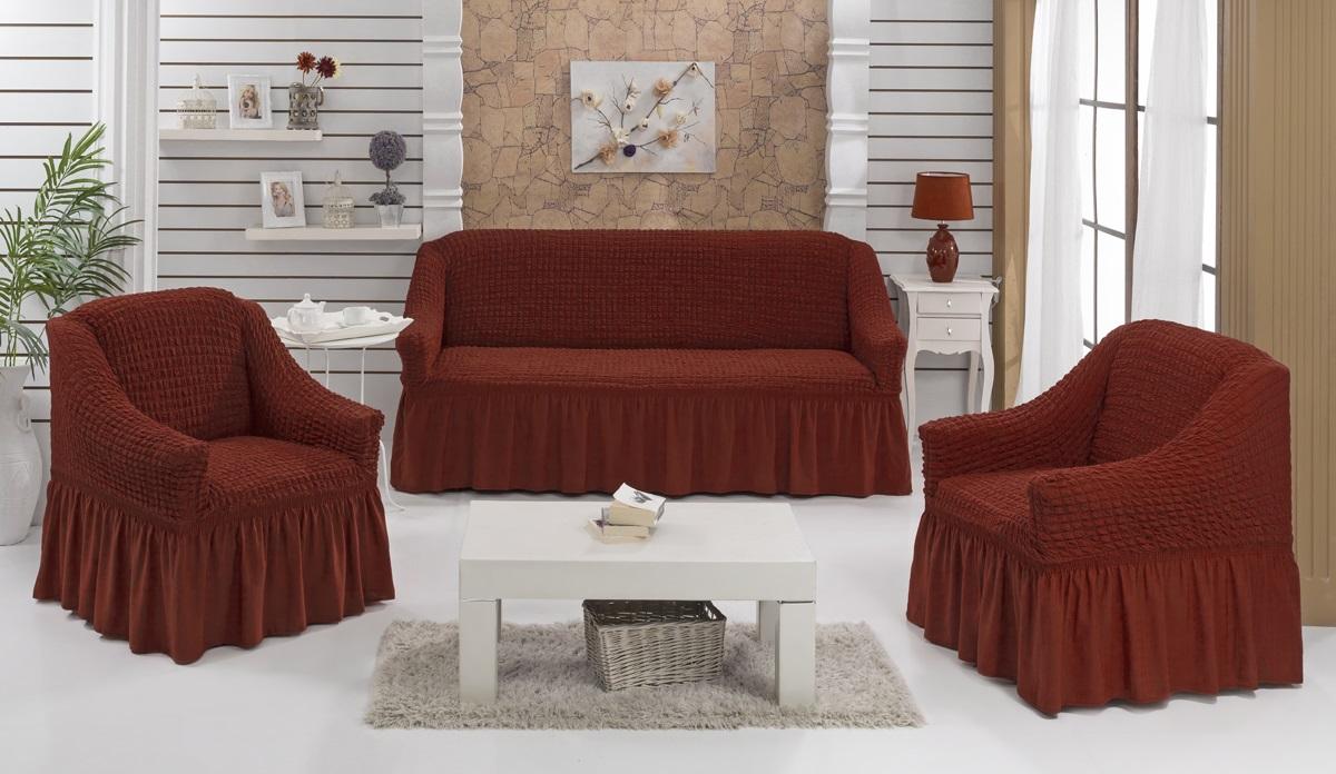 Набор чехлов для дивана и кресел Karna Bulsan, 3 шт, цвет: кирпичный1717/CHAR012Набор Karna Bulsan состоит из чехла для трехместного дивана и двух чехлов для кресел. Универсальные чехлы изготовлены из высококачественного материала на основе полиэстера и хлопка и дополнены широкой юбкой, скрывающей низ мебели. Изделия оснащены фиксаторами, которые позволяют надежно закрепить чехол на мебели. Фиксаторы вставляются в расстояние между спинкой и сиденьем, фиксируя чехол в одном положении, и не позволяя ему съезжать и терять форму. Фиксаторы особенно необходимы в том случае, если у вас кожаная мебель или мебель нестандартных габаритов. Характеристики:Плотность: 360 гр/м2. Ширина и глубина посадочного места (кресло): 70-80 см. Высота спинки от посадочного места (кресло): 70-80 см Высота подлокотников (кресло): 35-45 см. Ширина подлокотников (кресло): 25-35 см. Ширина посадочного места (диван): 210-260 см. Глубина посадочного места (диван): 70-80 см Высота спинки от посадочного места (диван): 70-80 см. Ширина подлокотников (диван): 25-35 см.Высота юбки (диван и кресло): 35 см.